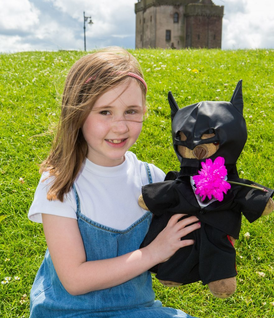 Annabel Martin (7) from Broughty Ferry with Teddy Thomas age 32 years as Bat Bear.
