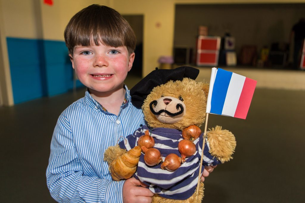 Dougray Low (4) from Broughty Ferry with Bonjour Bear.