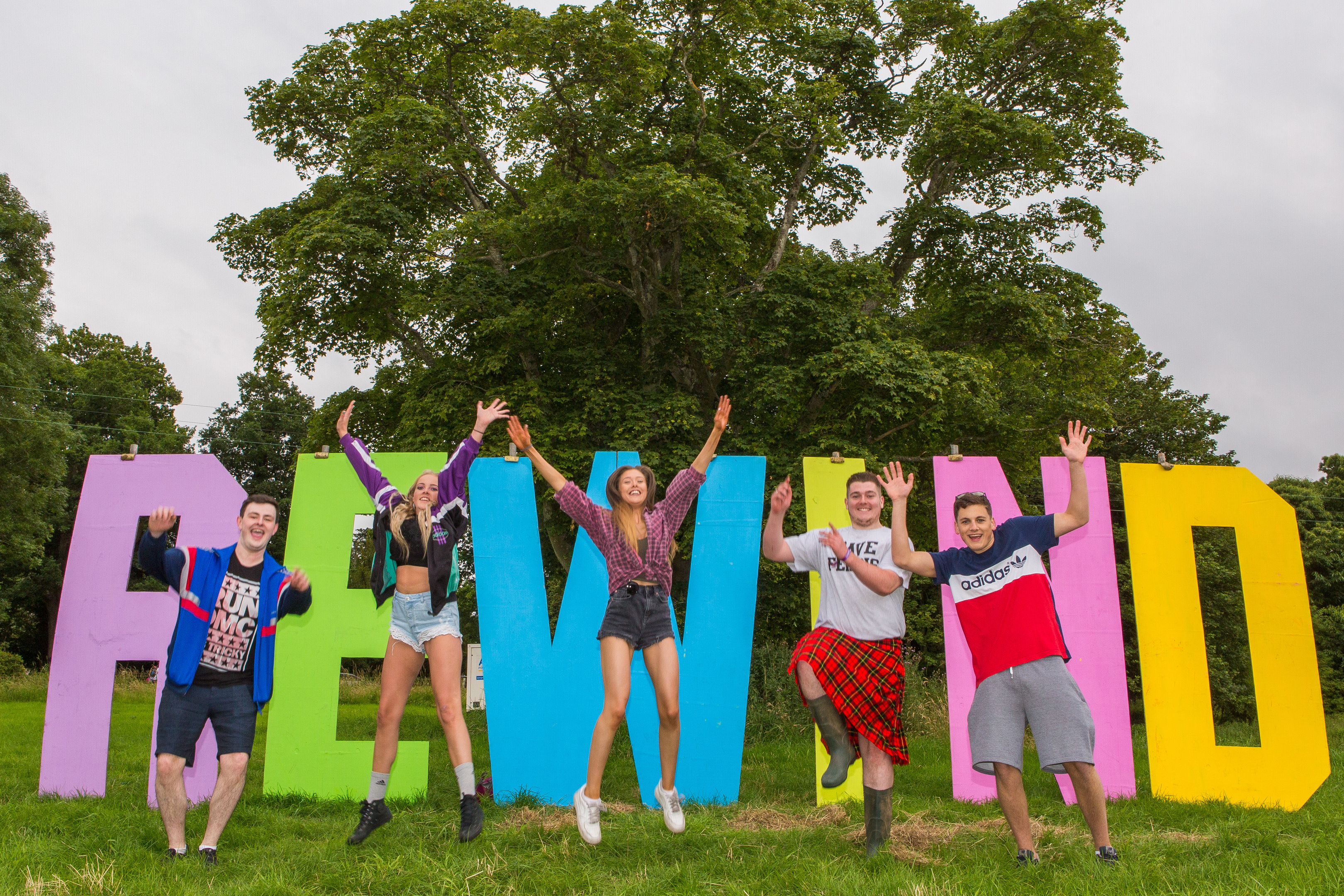 Jumping with excitement are Kenneth Pattendon (18), Conor Smith (20), Megan Palmer (21), Alex Maclean (20) and Thomas Morrow (19) from Scone