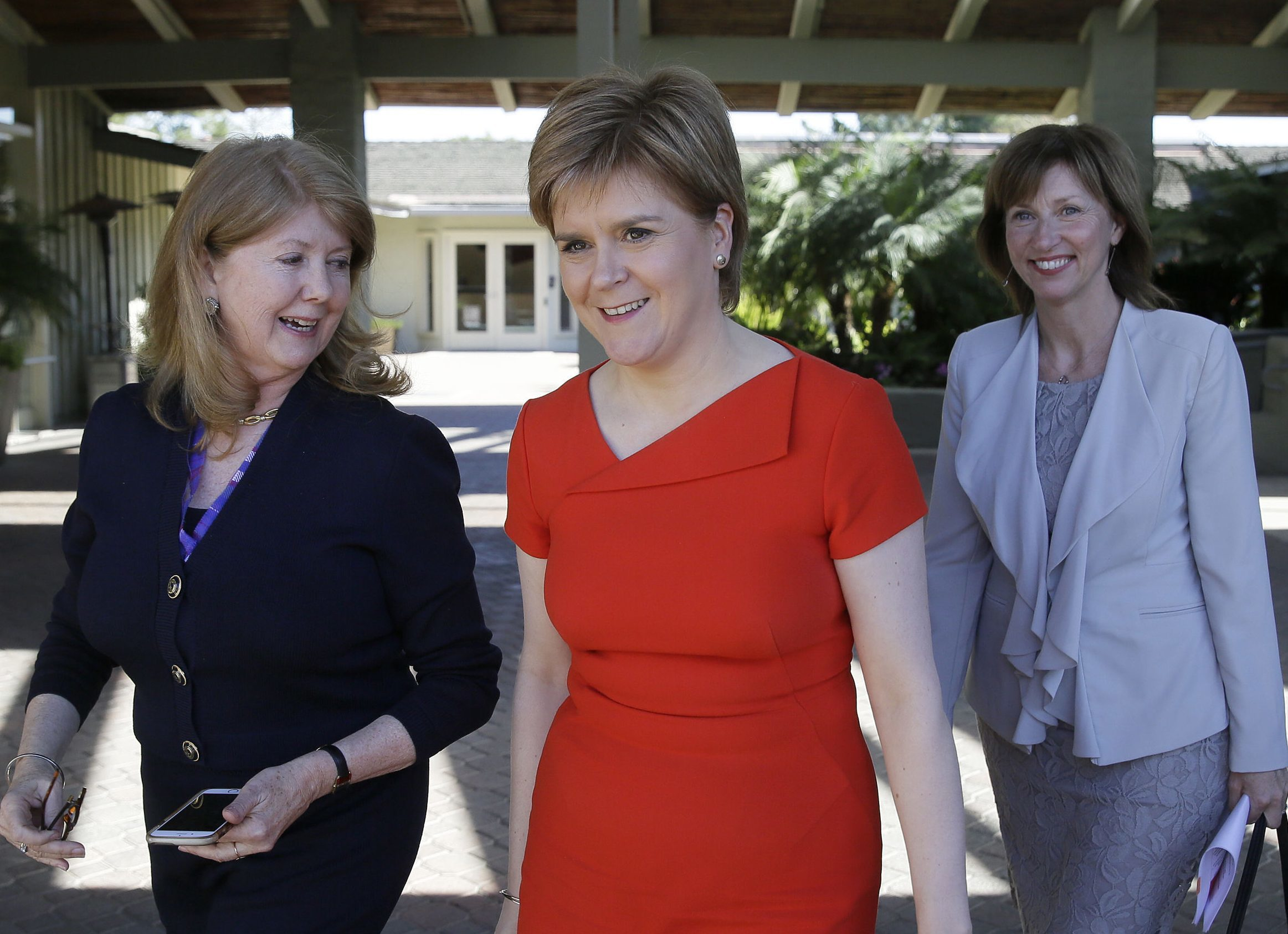 Outgoing Scottish Enterprise chief executive Lena Wilson (right) with First Minister Nicola Sturgeon as they  meet with  Gwen Edwards, left, of Golden Seeds  as part of a trade trip to the US in the Spring.
