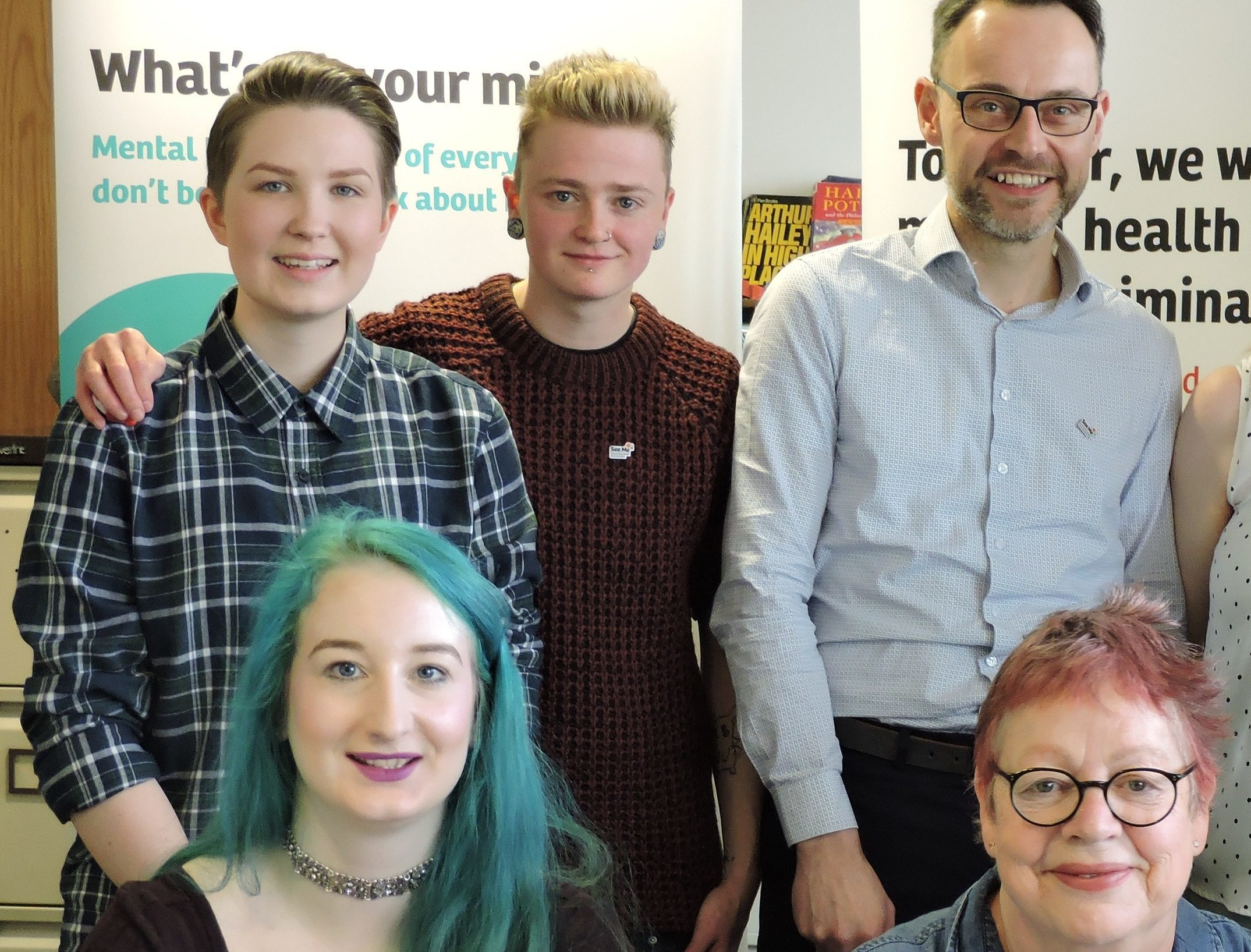 ZoeMason, top left, with See Me volunteers and staff and Jo Brand