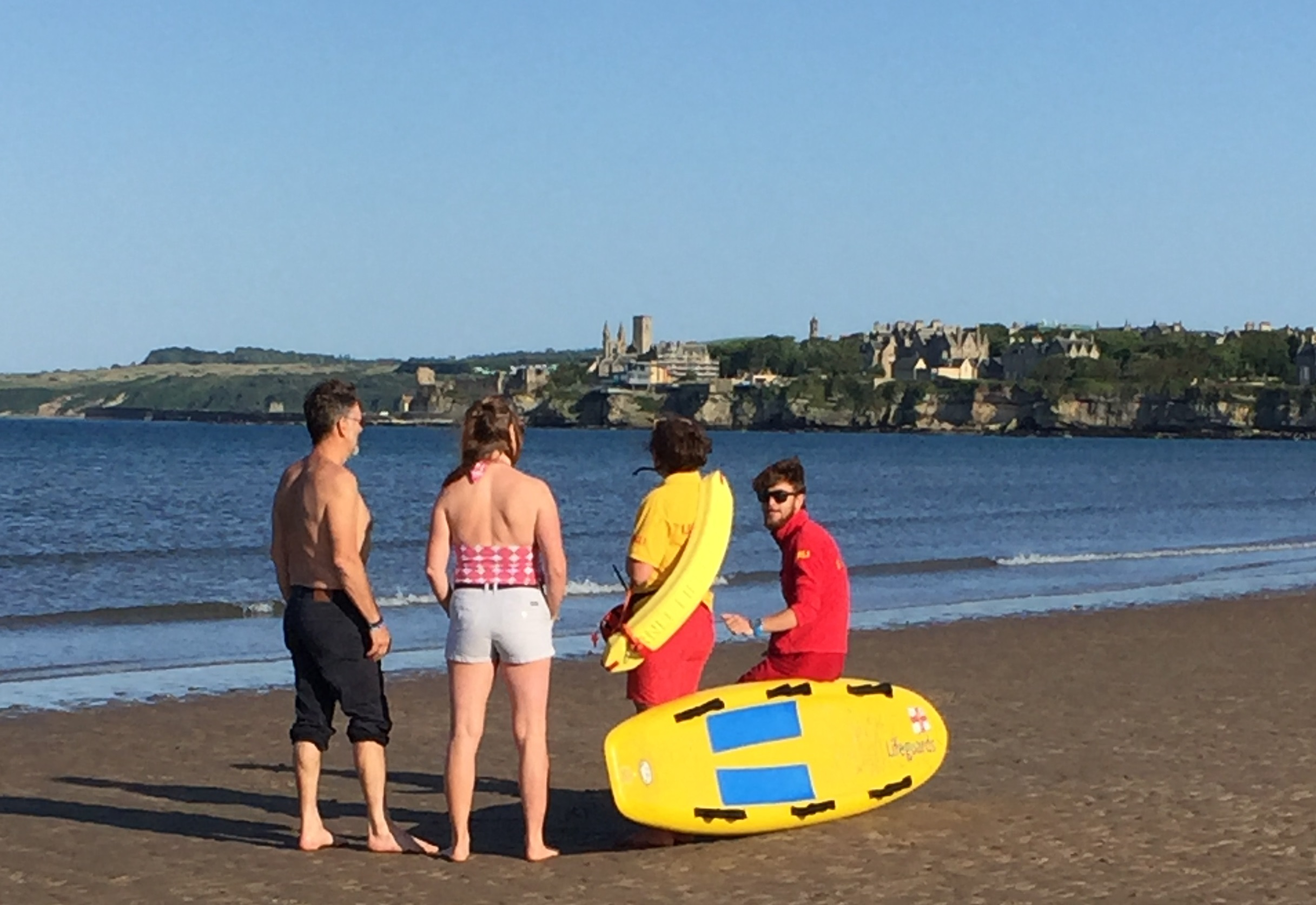 St Andrews Lifeguards on the beach during the incident.