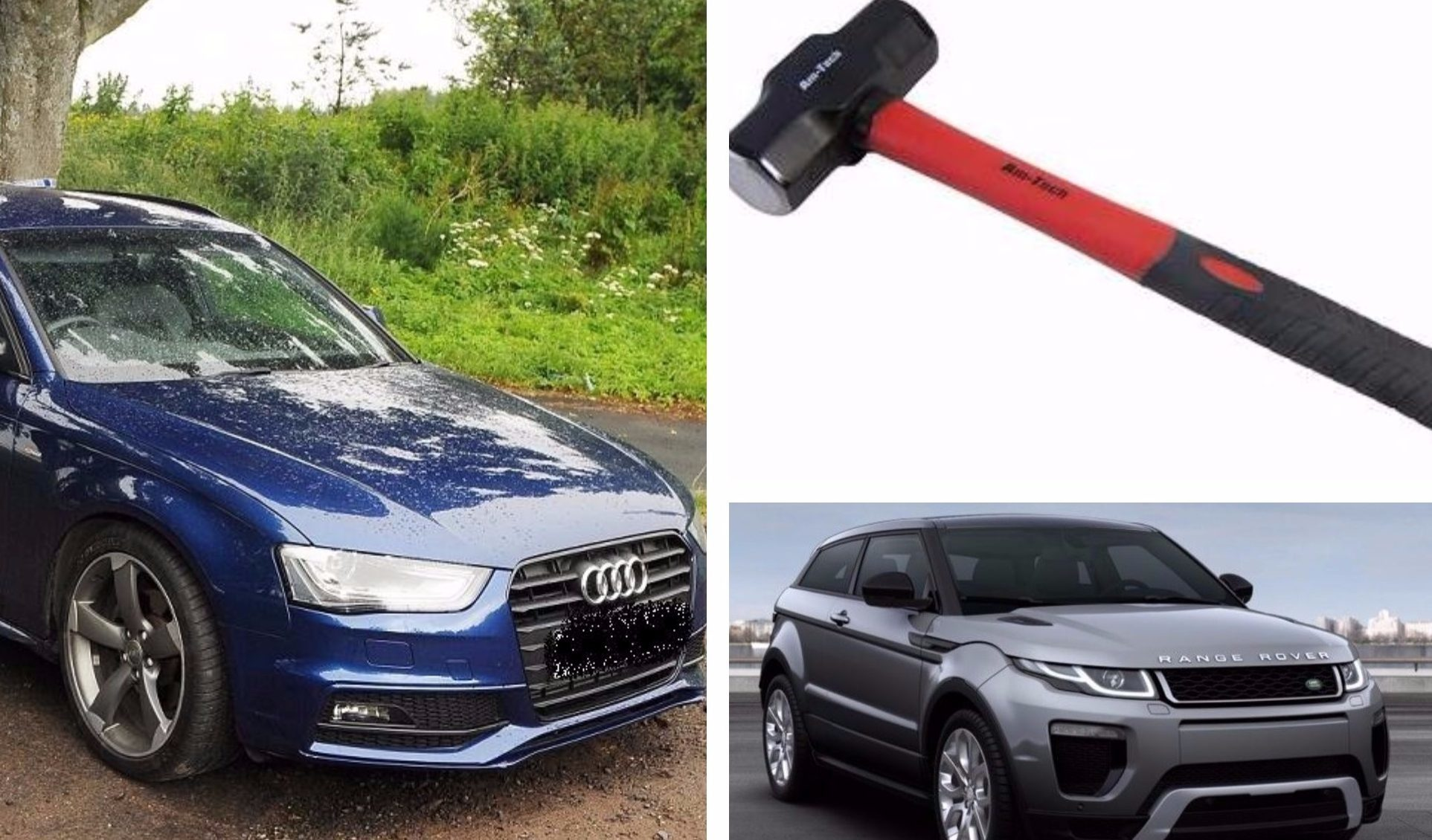The vehicles and hammer used during the Gleneagles Hotel theft.