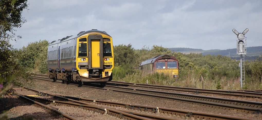 A freight train in 2012 joining the east coast main line at Thornton from the Leven branch line.
