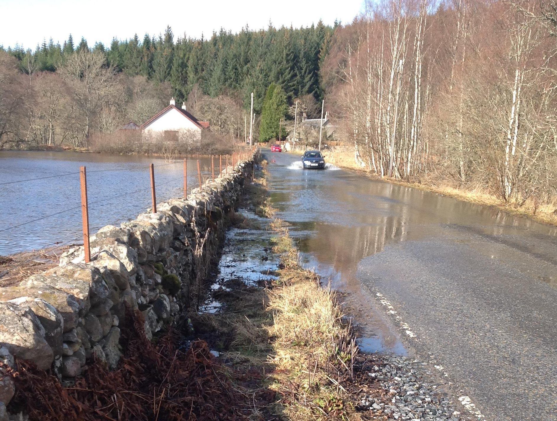 Flooding at Tummel Bridge.