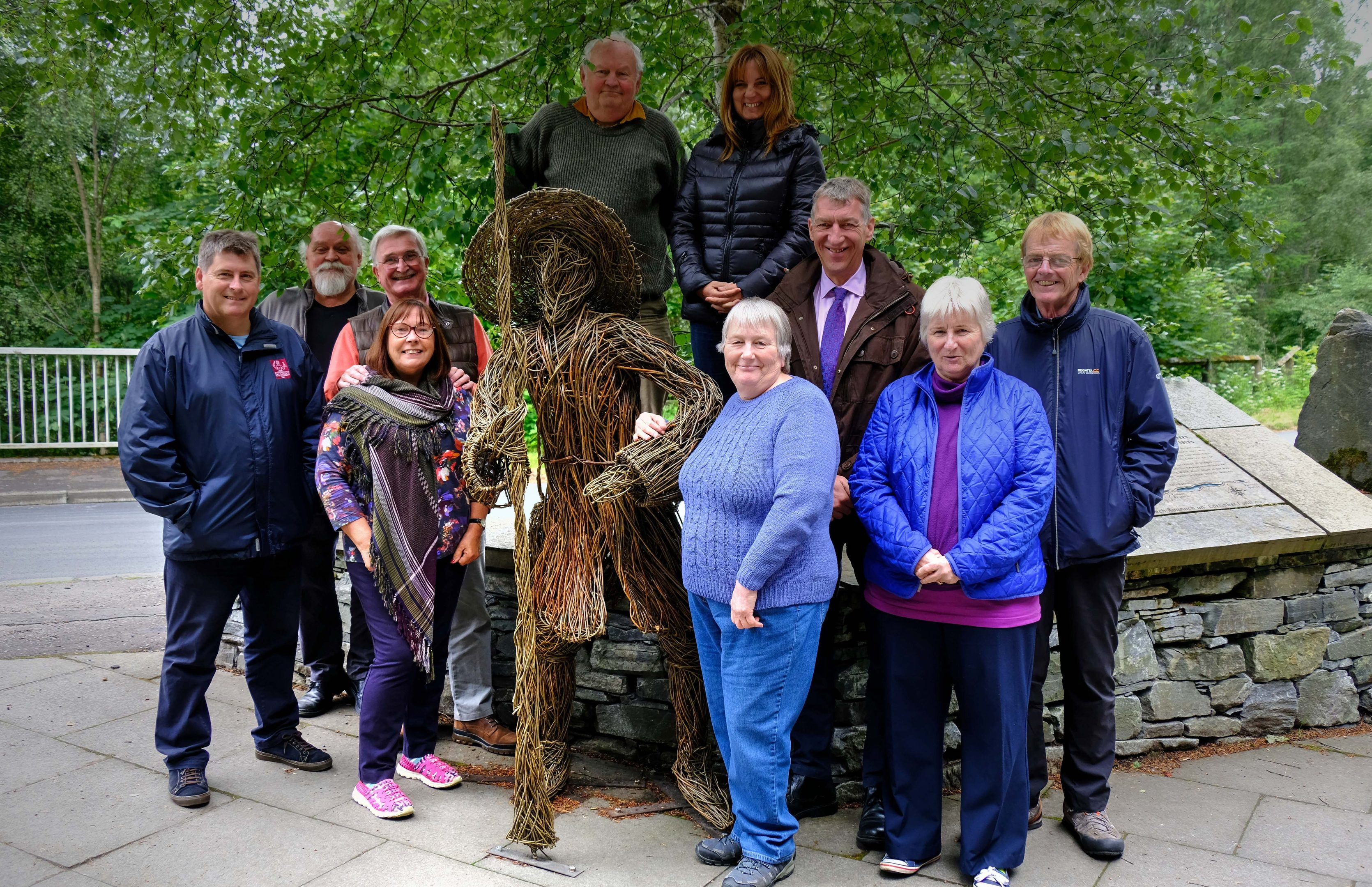 Members of the Soldiers of Killiecrankie committee with the wicker Scottish government soldier at the Garry Bridge car park.