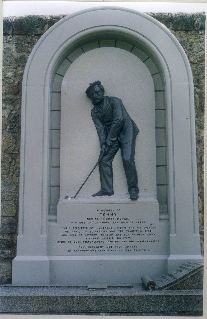 The memorial to Young Tommy Morris in St Andrews Cathedral