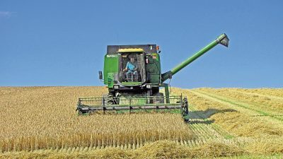 a combine harvester.