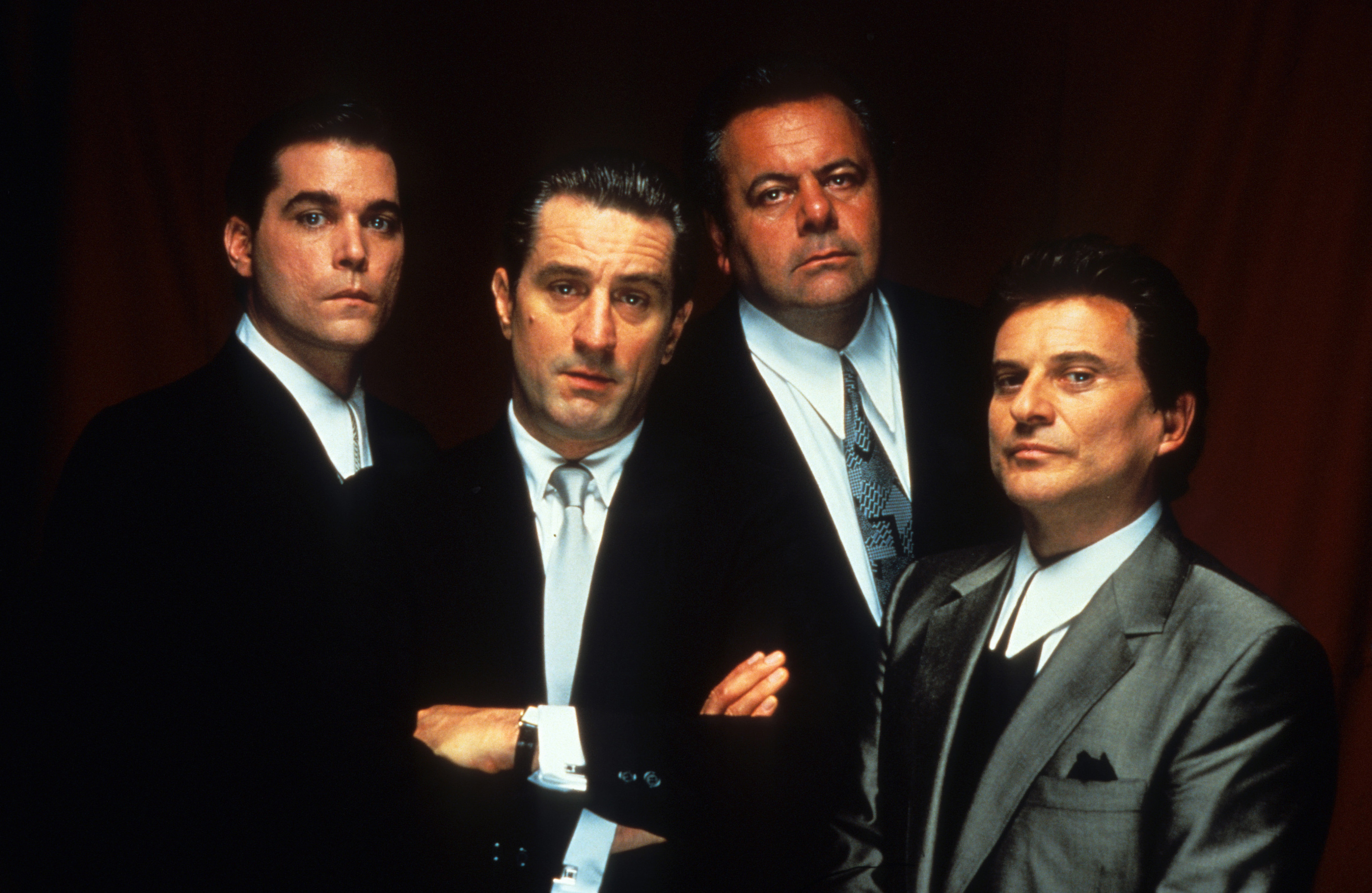 Ray Liotta, Robert De Niro, Paul Sorvino, and Joe Pesci in Goodfellas.