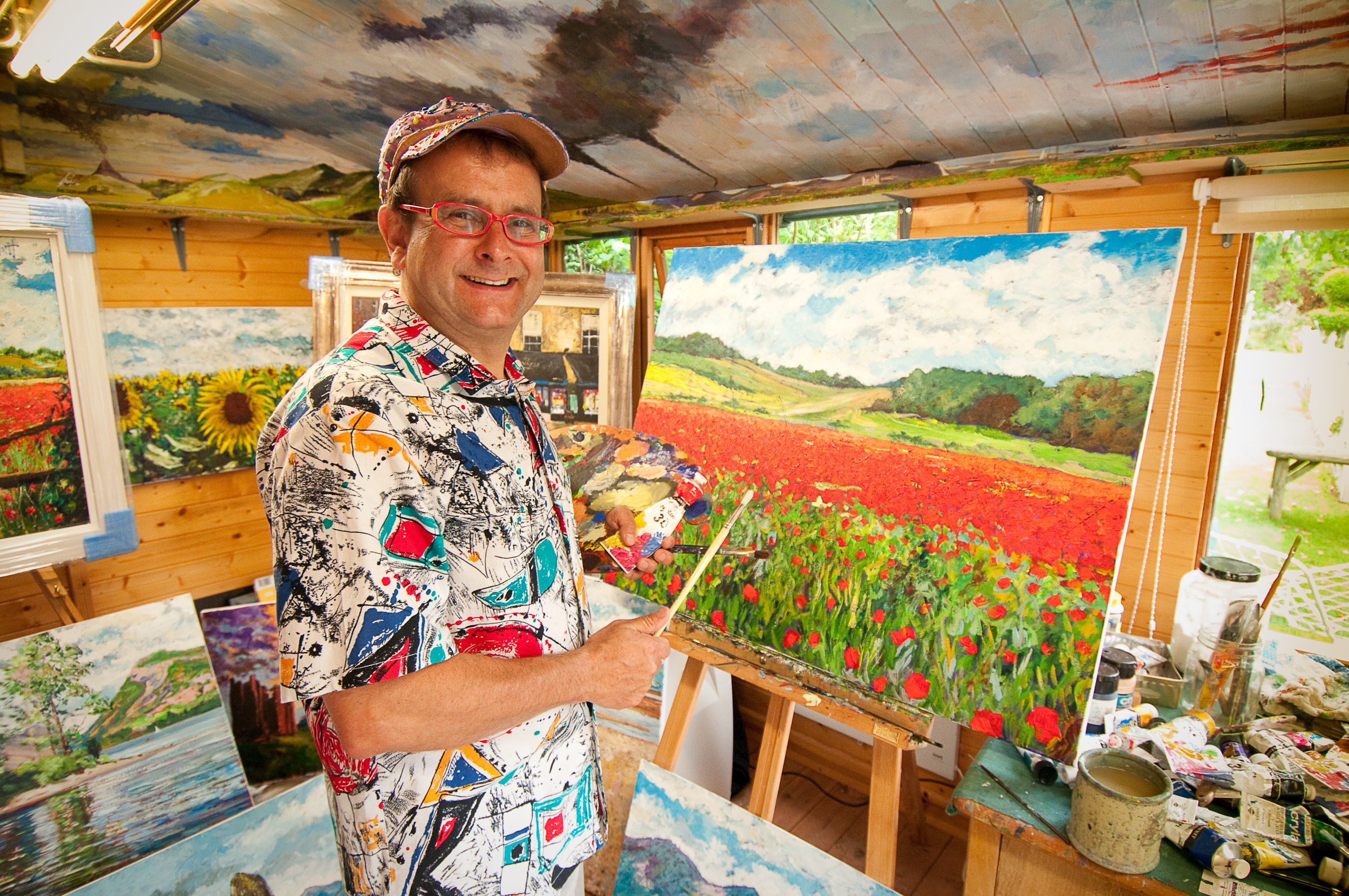 Timmy Mallett in his art studio where he is taking inspiration from Tayside for his next work.