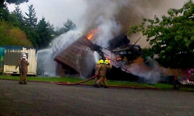 The Mill O' Mains pavilion blaze.