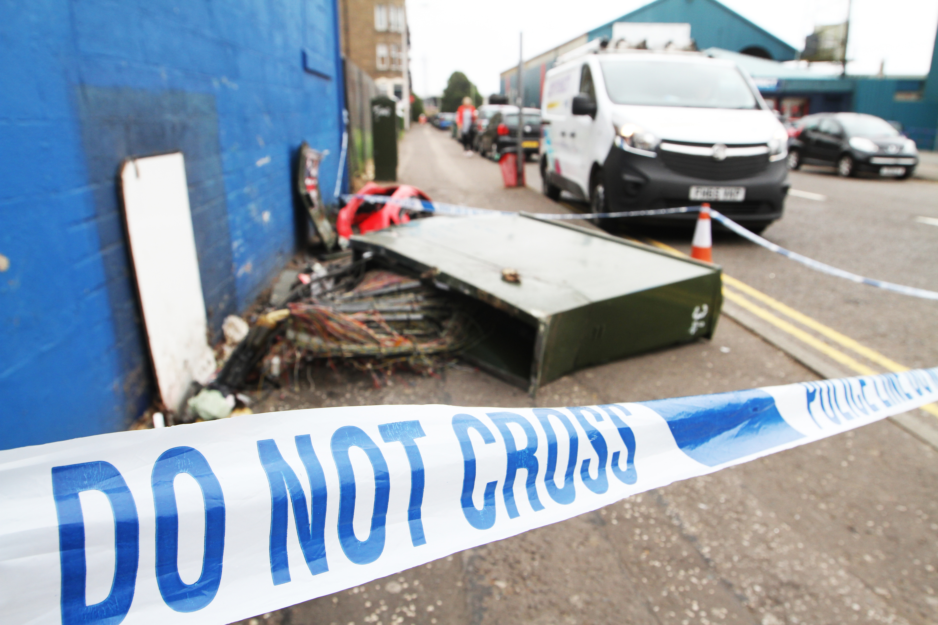 The BT box on Sandeman Street was wiped out, leaving residents including Dundee Football Club without internet.