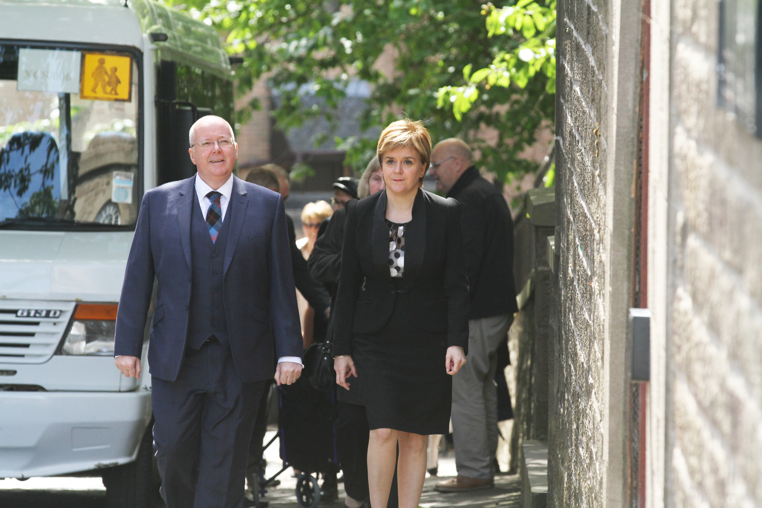 First Minister Nicola Sturgeon and her husband Peter Murrell attend Mr Wilson's funeral at St Peter's Free Church in Dundee.