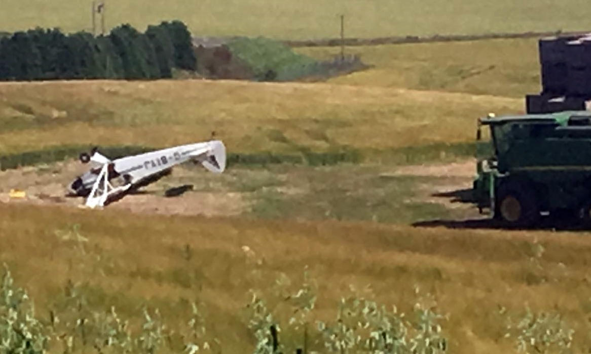 The overturned plane.