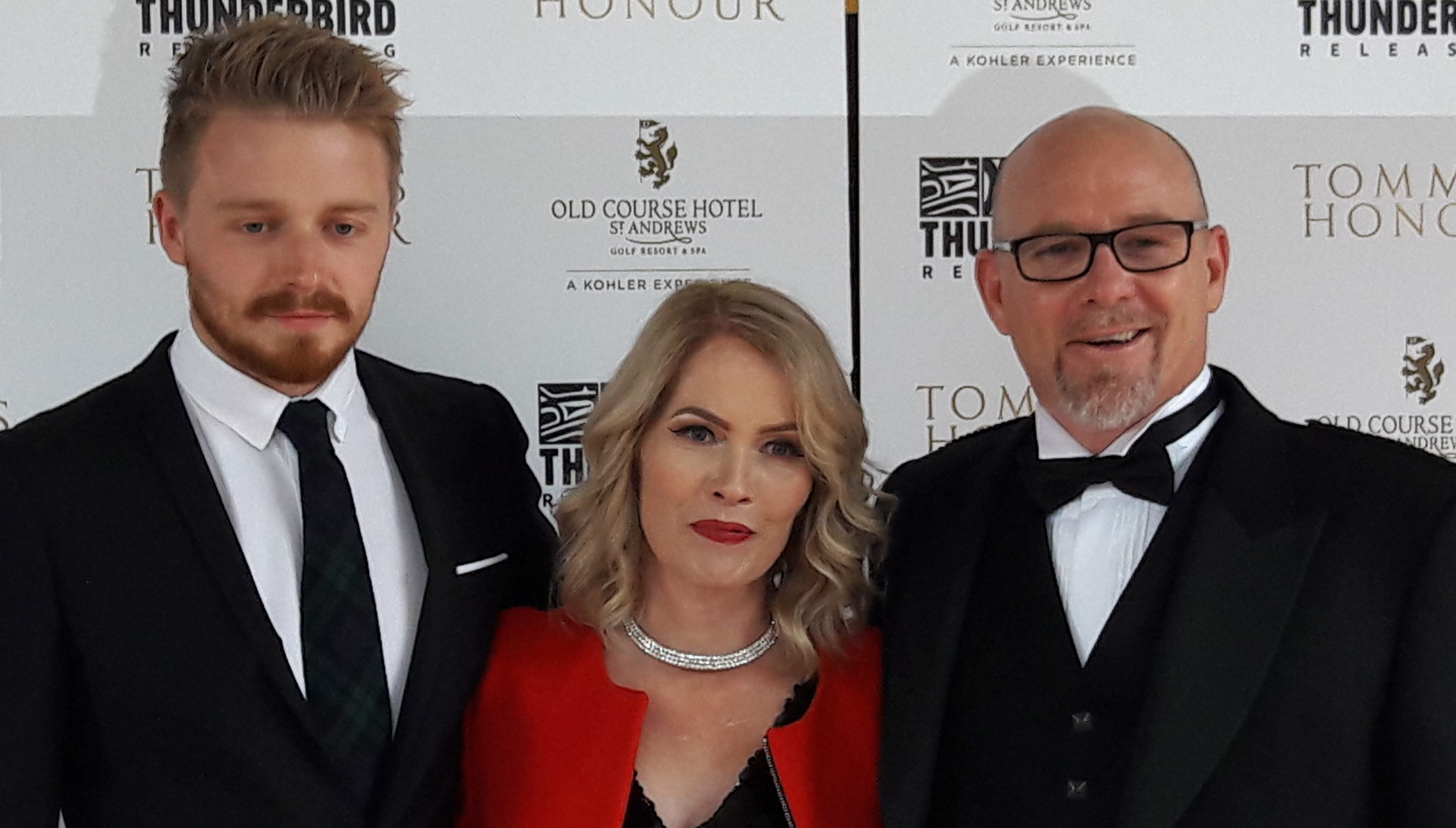 Jack Lowden, Therese and Jason Connery are pictured on the red carpet at the UK premiere of Tommy's Honour at the NPH Cinema in St Andrews