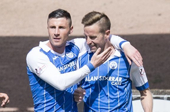 Steven MacLean is congratulated by Michael O'Halloran on his record-equalling goal.