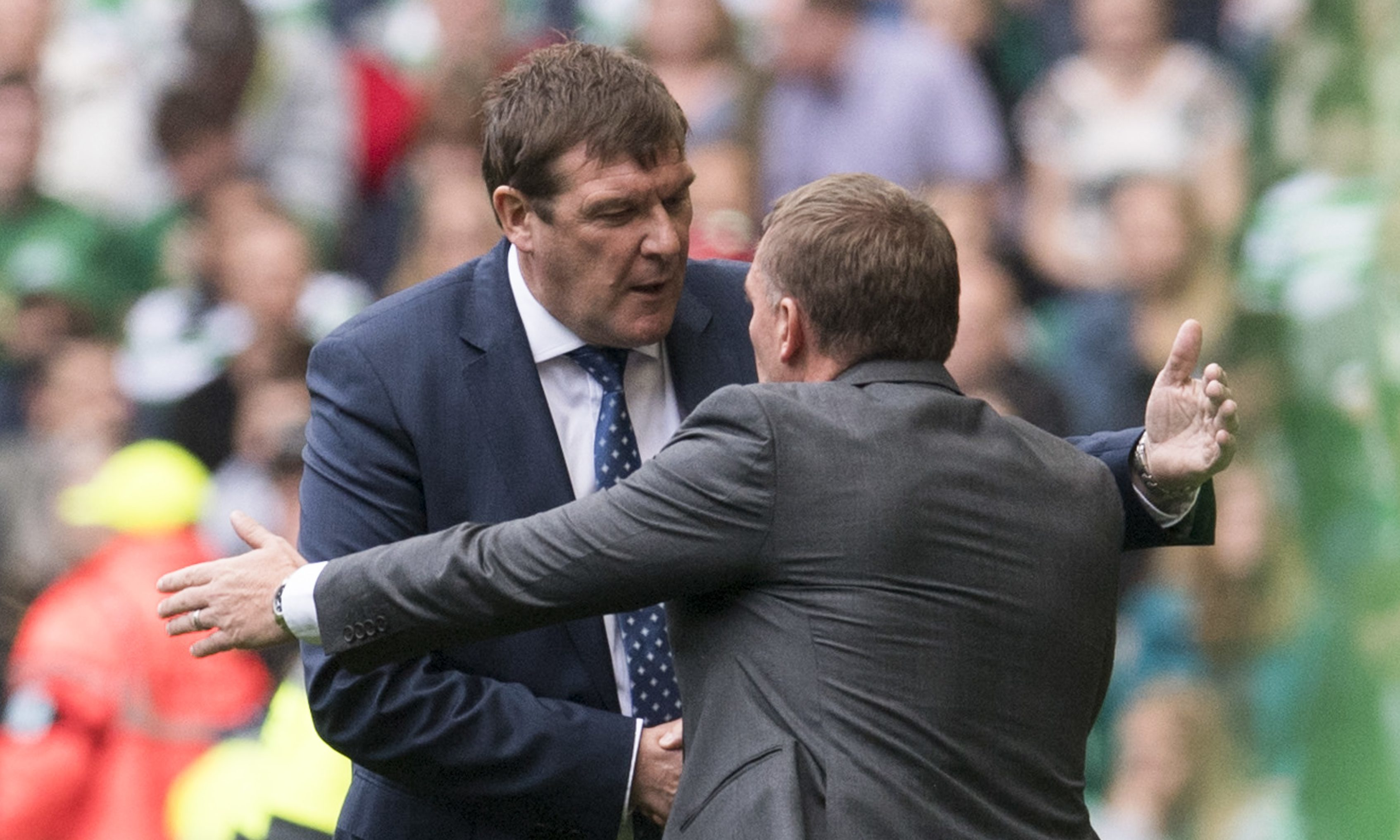St Johnstone manager Tommy Wright with Celtic manager Brendan Rodgers at full-time