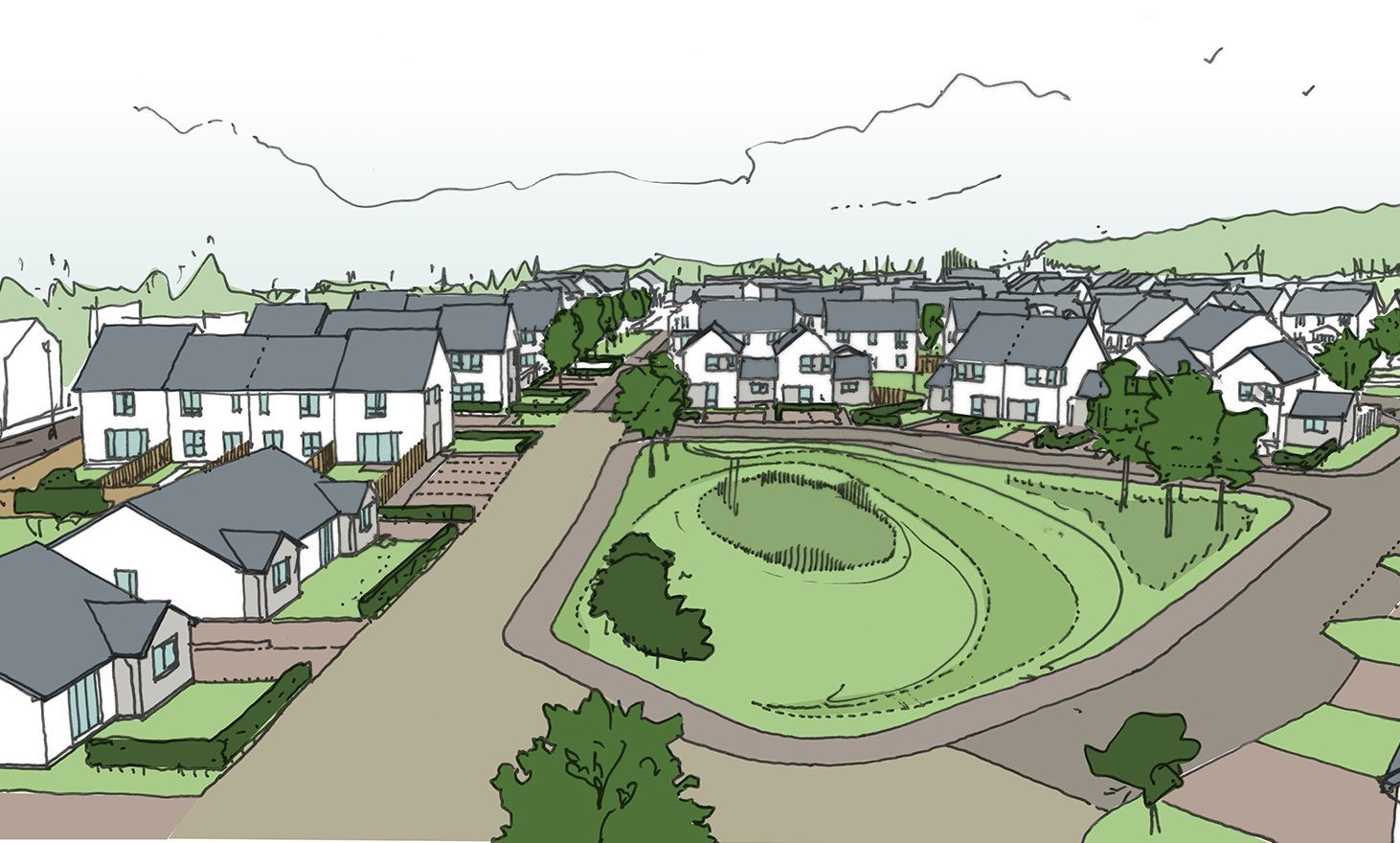 An artists impression of how the new Rattray estate could look