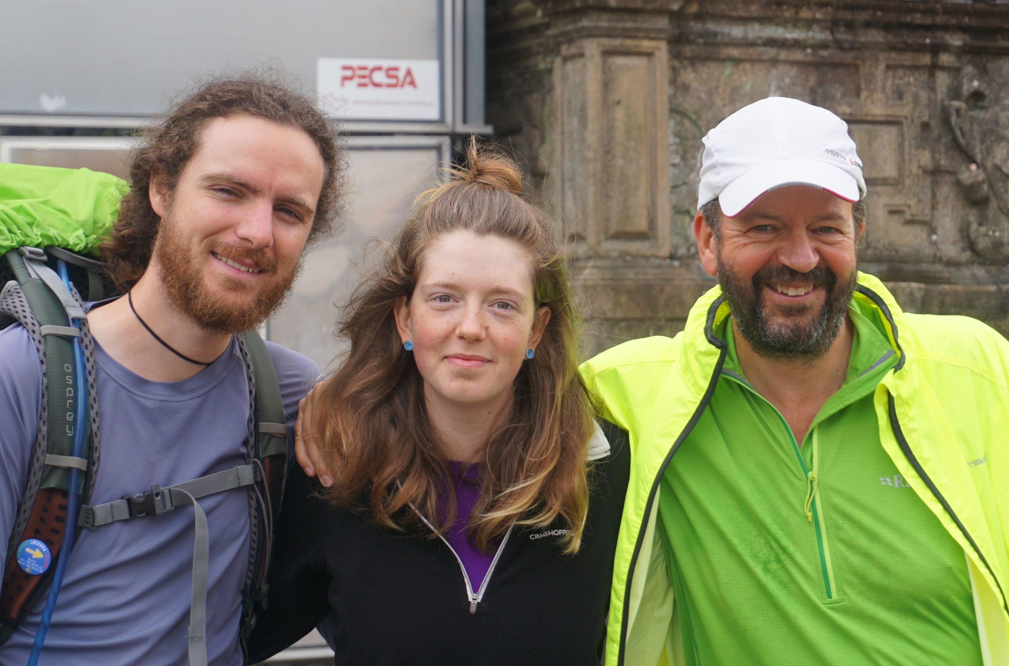 Hamish Hutchings, Jen Logan and Steve Logan at journey's end.