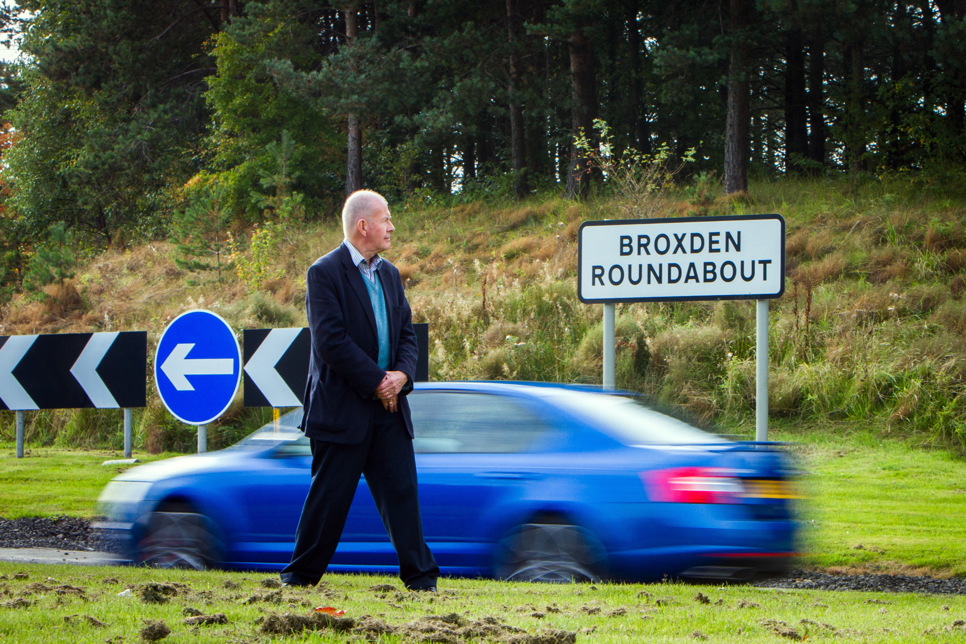 Councillor Willie Wilson at the Broxden Roundabout. he has previously expressed concerns about the layout.