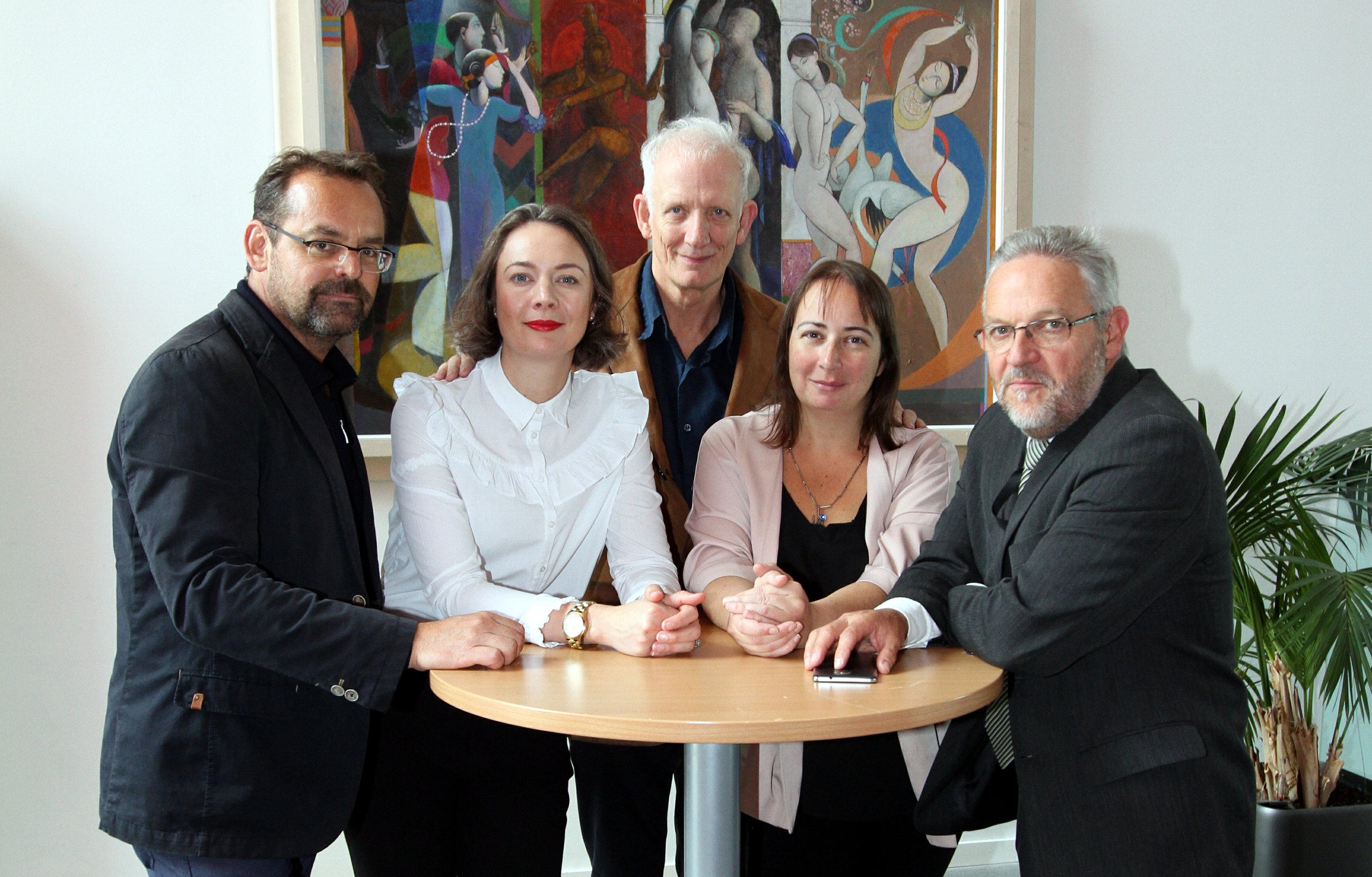 Symposium speaker Werner Schrempf of La Strada Festival, Austria, Beth Bate DCA director and symposium moderator, Neil Butler, UZ Arts Scotland, Anna Day and Stewart Murdoch, director of Leisure and Culture Dundee.