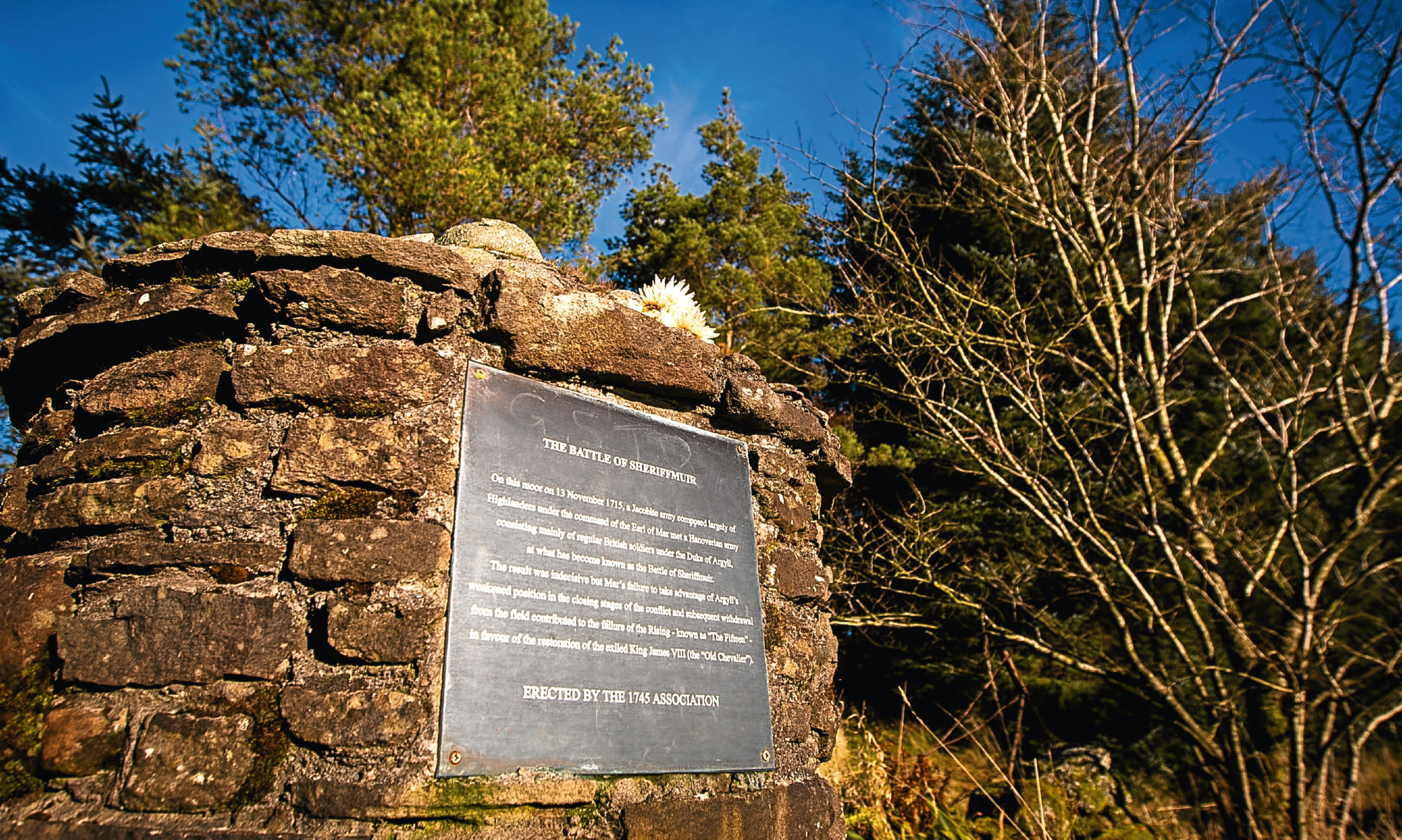 The memorial cairn at the site of the Battle of Sheriffmuir.