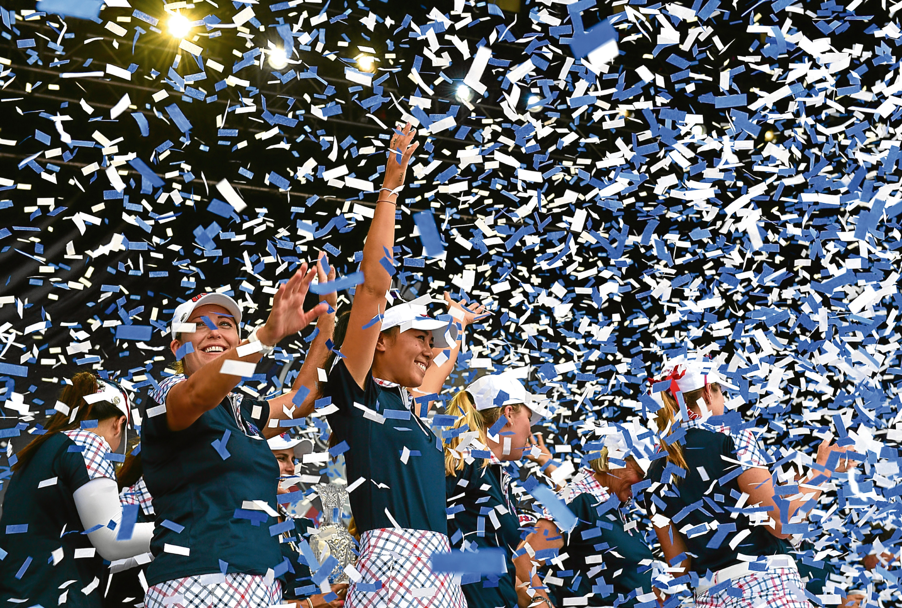 The triumphant American team celebrate at 2016's Solheim Cup closing ceremony.