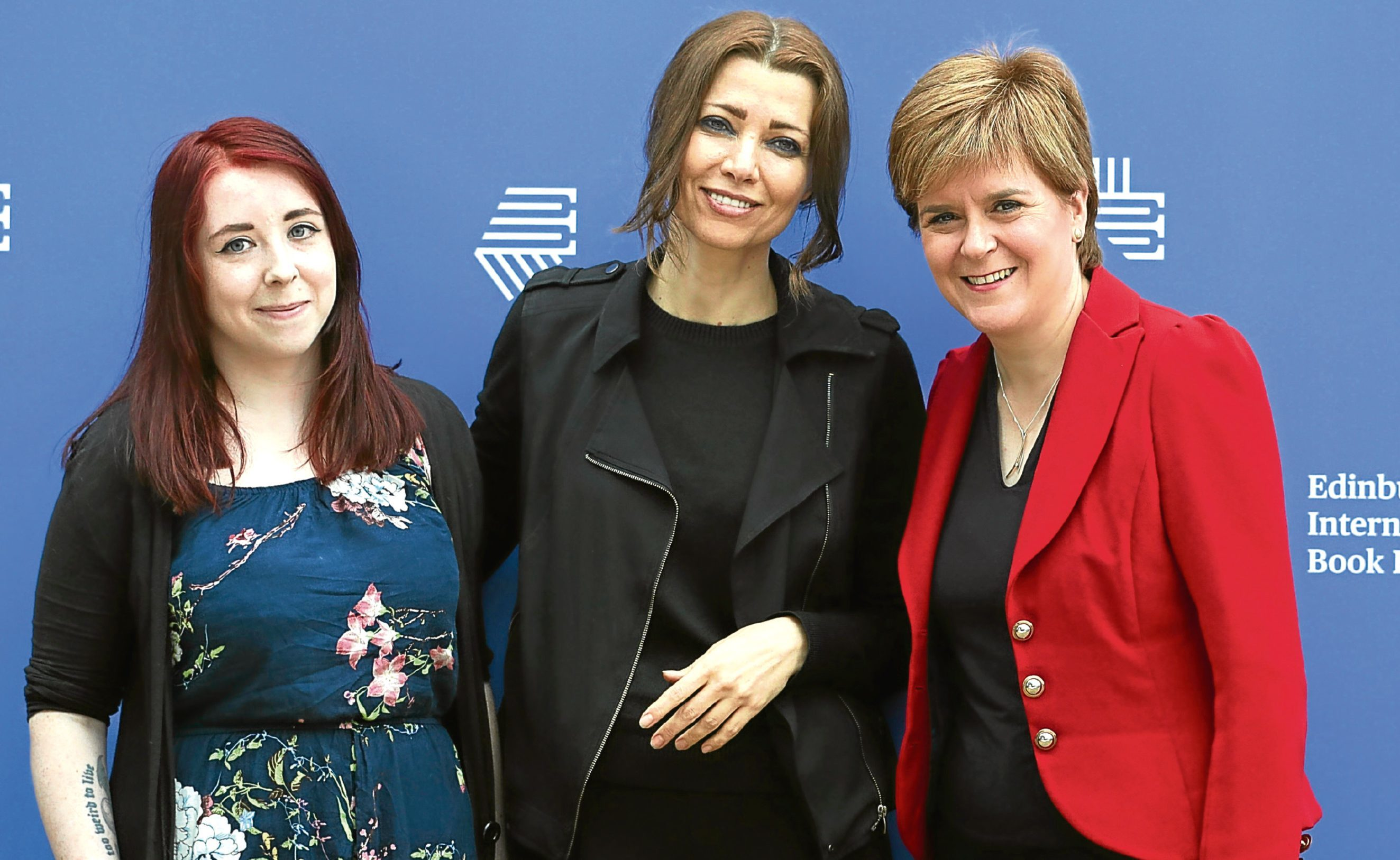 First Minister Nicola Sturgeon with Heather McDaid (left) and Elif Shafak (centre) at the Edinburgh International Book Festival.