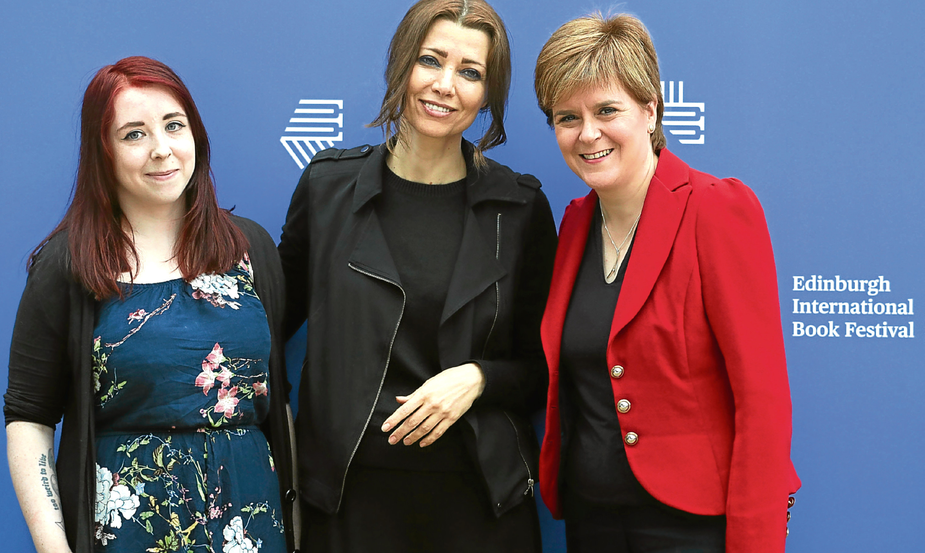 First Minister Nicola Sturgeon with Heather McDaid, left, and Elif Shafak at the Edinburgh International Book Festival.