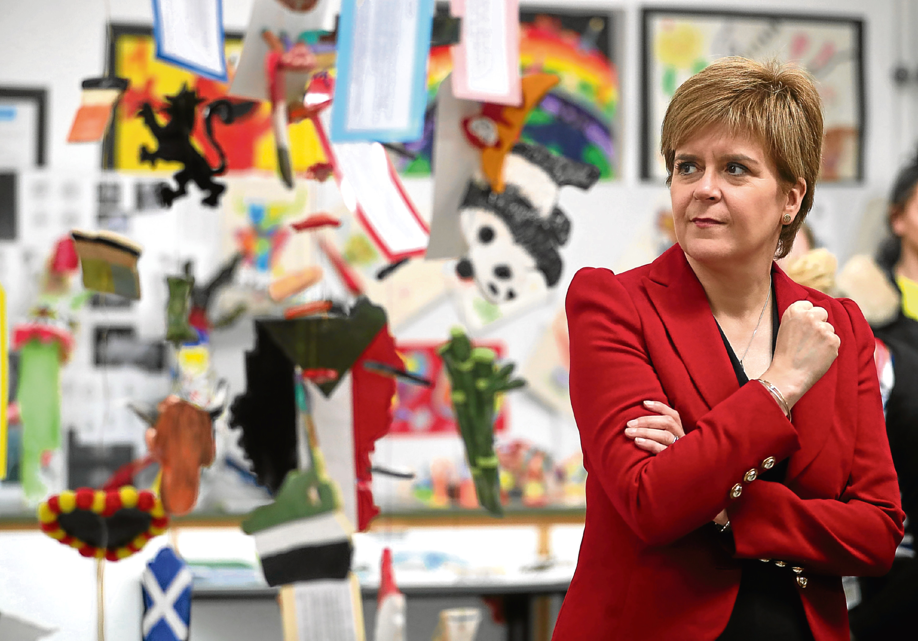 First Minister Nicola Sturgeon during a visit to Castlebrae Community High School in Edinburgh where she met teachers and pupils who have been part of a three-year residency programme with the Edinburgh International Festival. PRESS ASSOCIATION Photo. Picture date: Friday August 18, 2017. See PA story SCOTLAND School. Photo credit should read: Jane Barlow/PA Wire