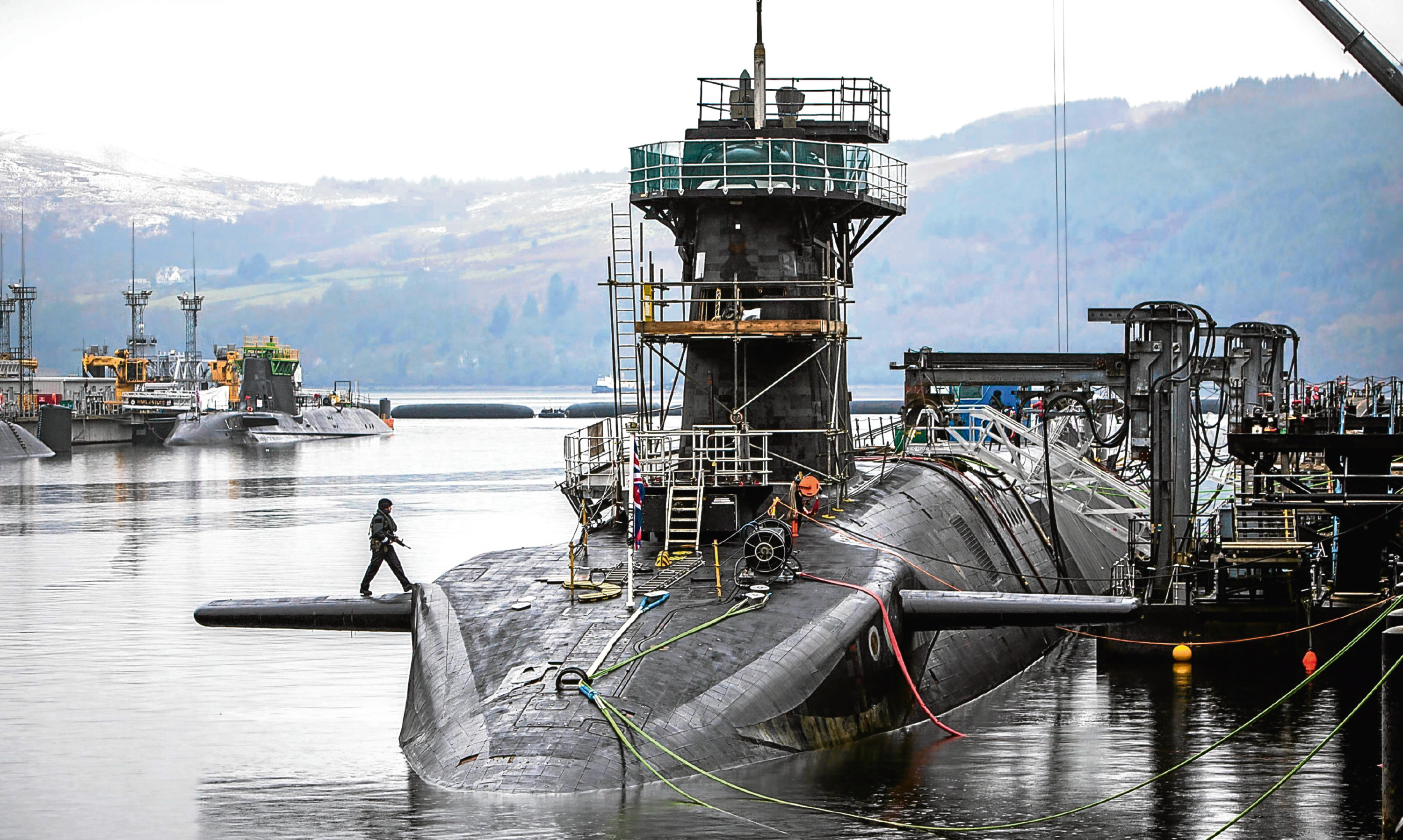 Vanguard-class submarine HMS Vigilant, one of the UK's four nuclear warhead-carrying submarines, at HM Naval Base Clyde, also known as Faslane.