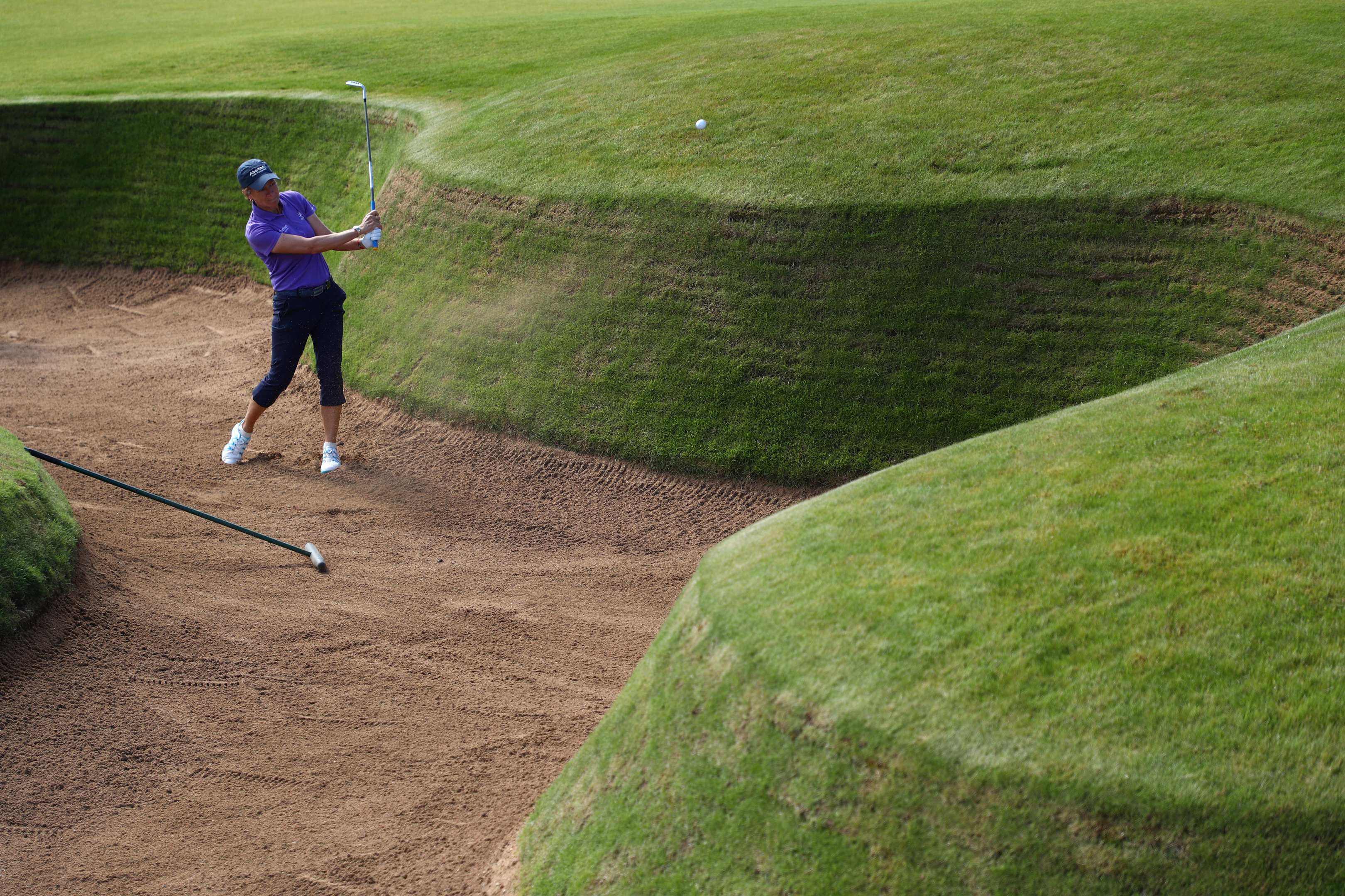 Catriona Matthew in practice for the RICOH Women's British Open at Kingsbarns Links.