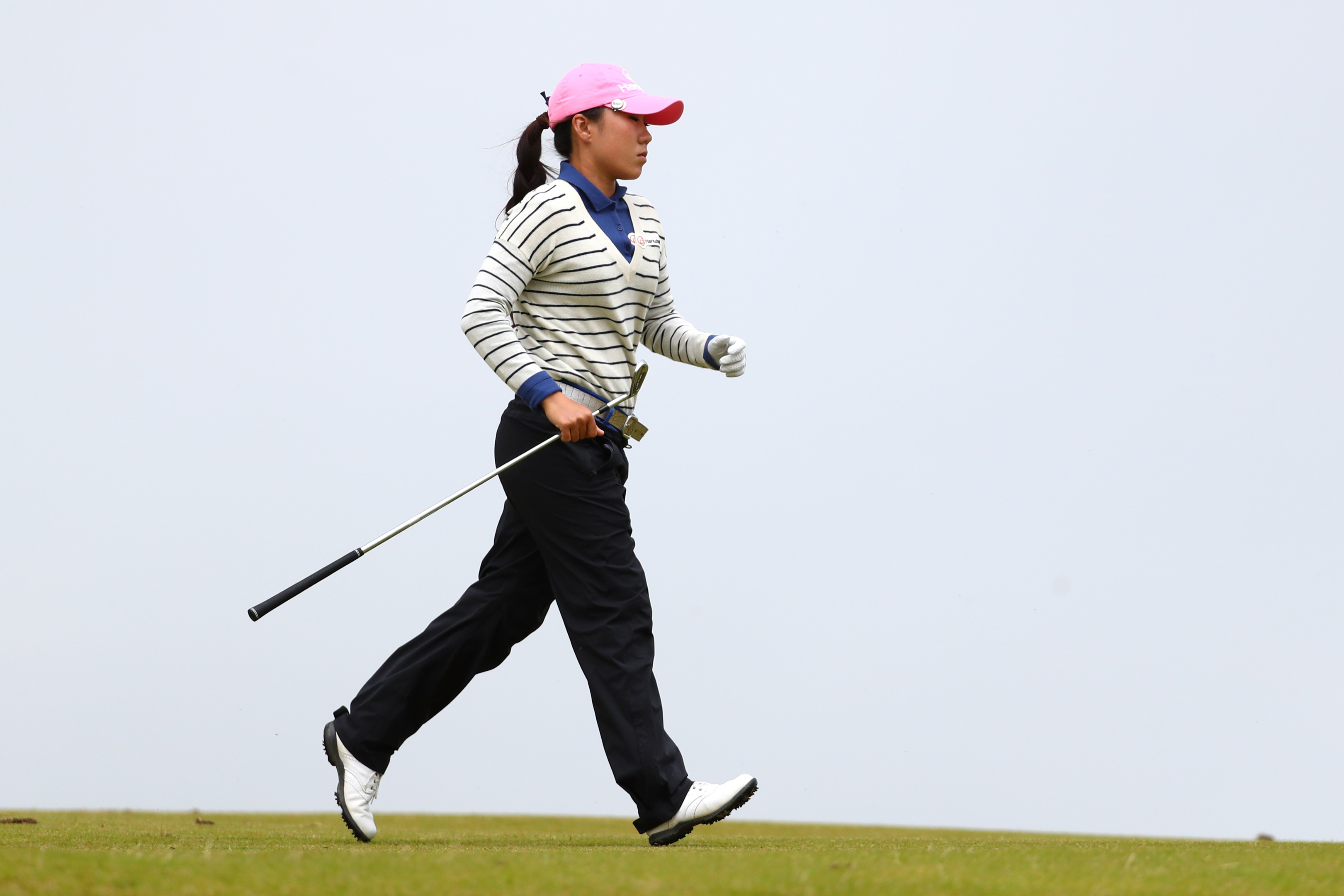 In-Kyung Kim was in a hurry on the 4th before the rains came at Kingsbarns.
