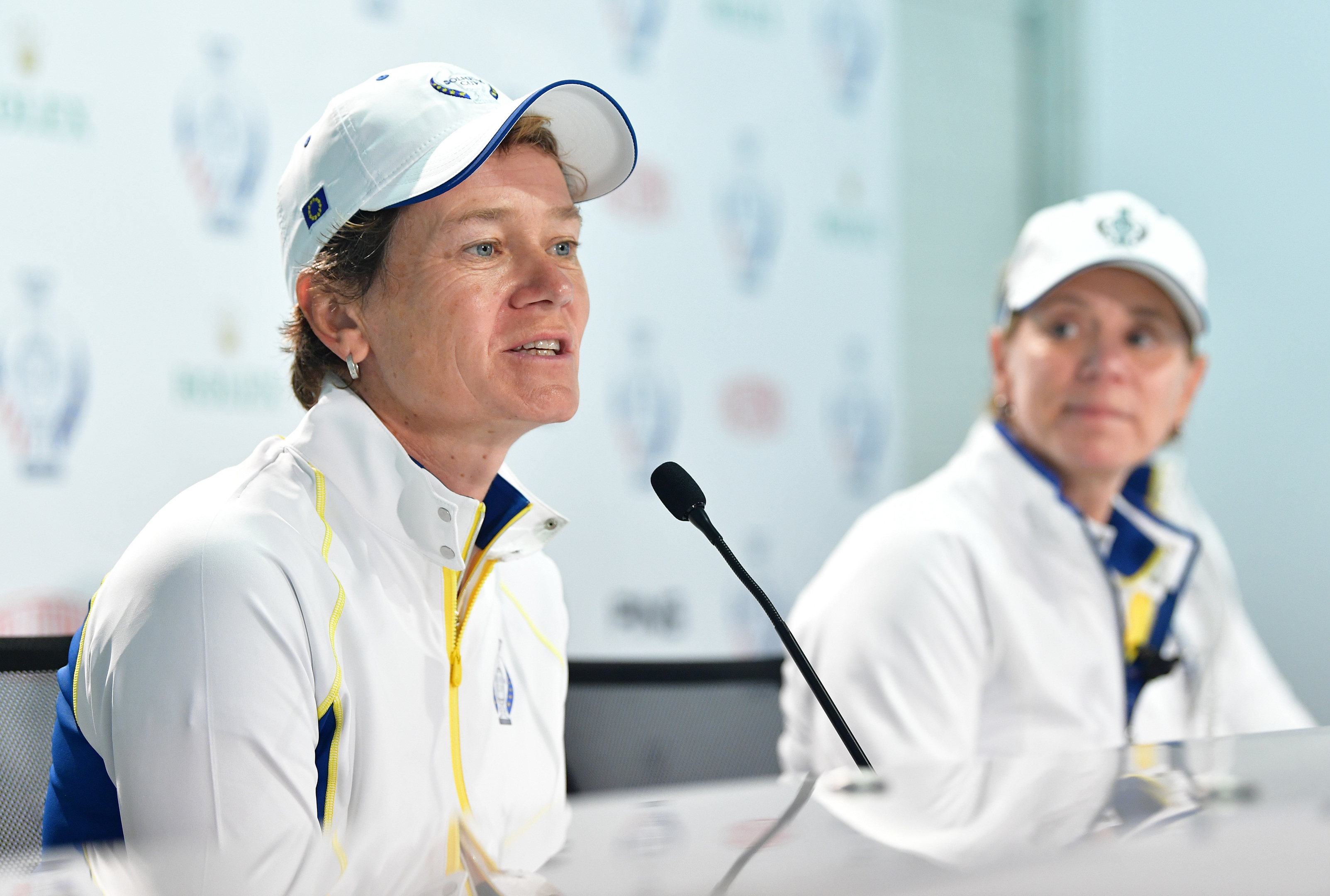 Catriona Matthew, wtached by skipper Annika Sorenstam, speaks to the media after being called into the European team for this week's Solheim Cup.