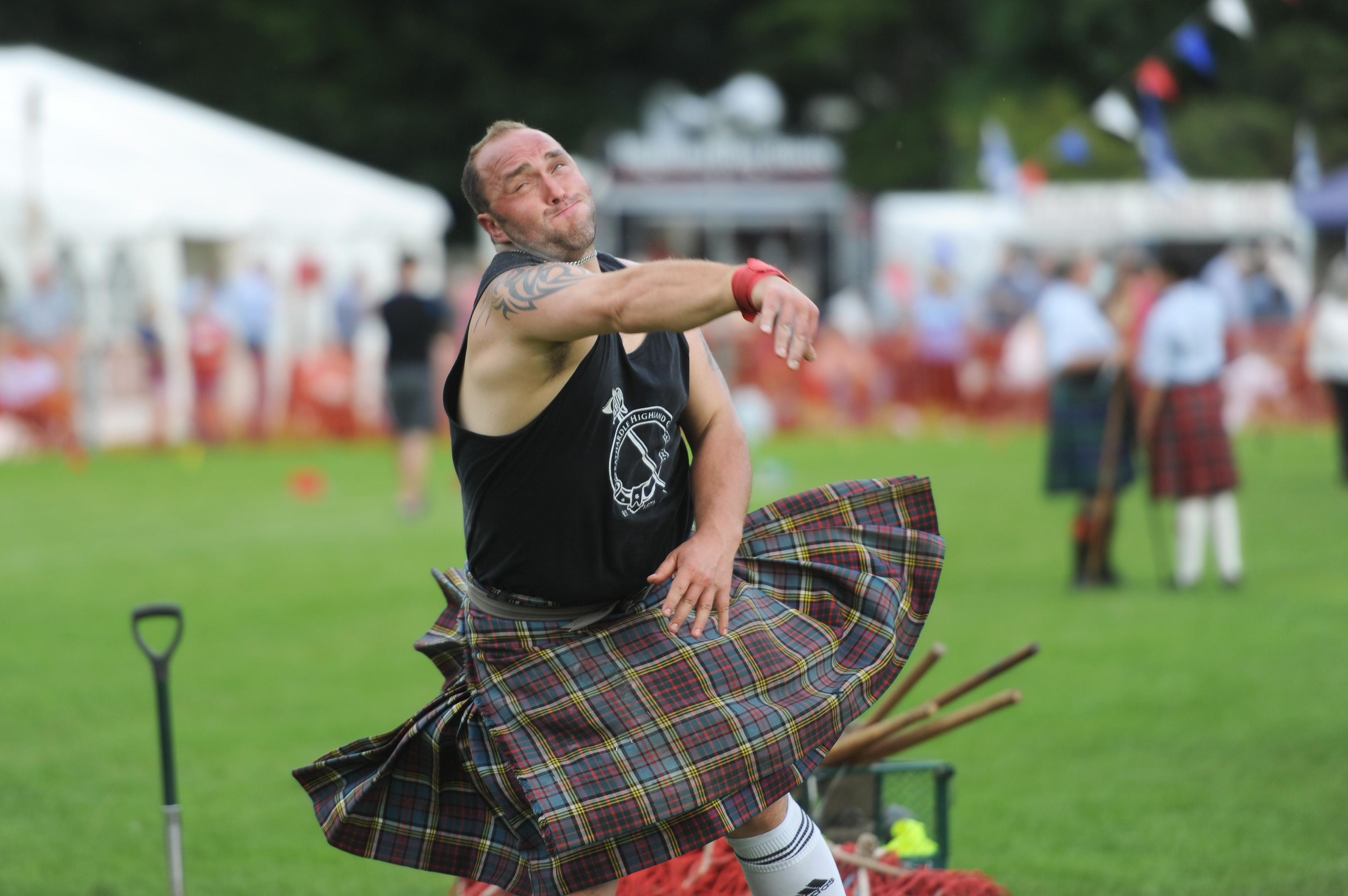 Competing in the shot putt, Stuart Anderson, Games Park, Birnam.