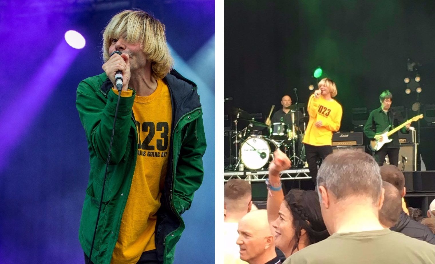 Tim Burgess of The Charlatans donning the 2023 shirt at Carnival 56.