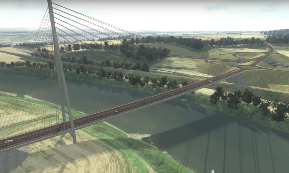 A computer-generated image of how the Cross Tay Link Road could look. The road is one of dozens of projects included in the submission for the long-awaited Tay Cities Deal.