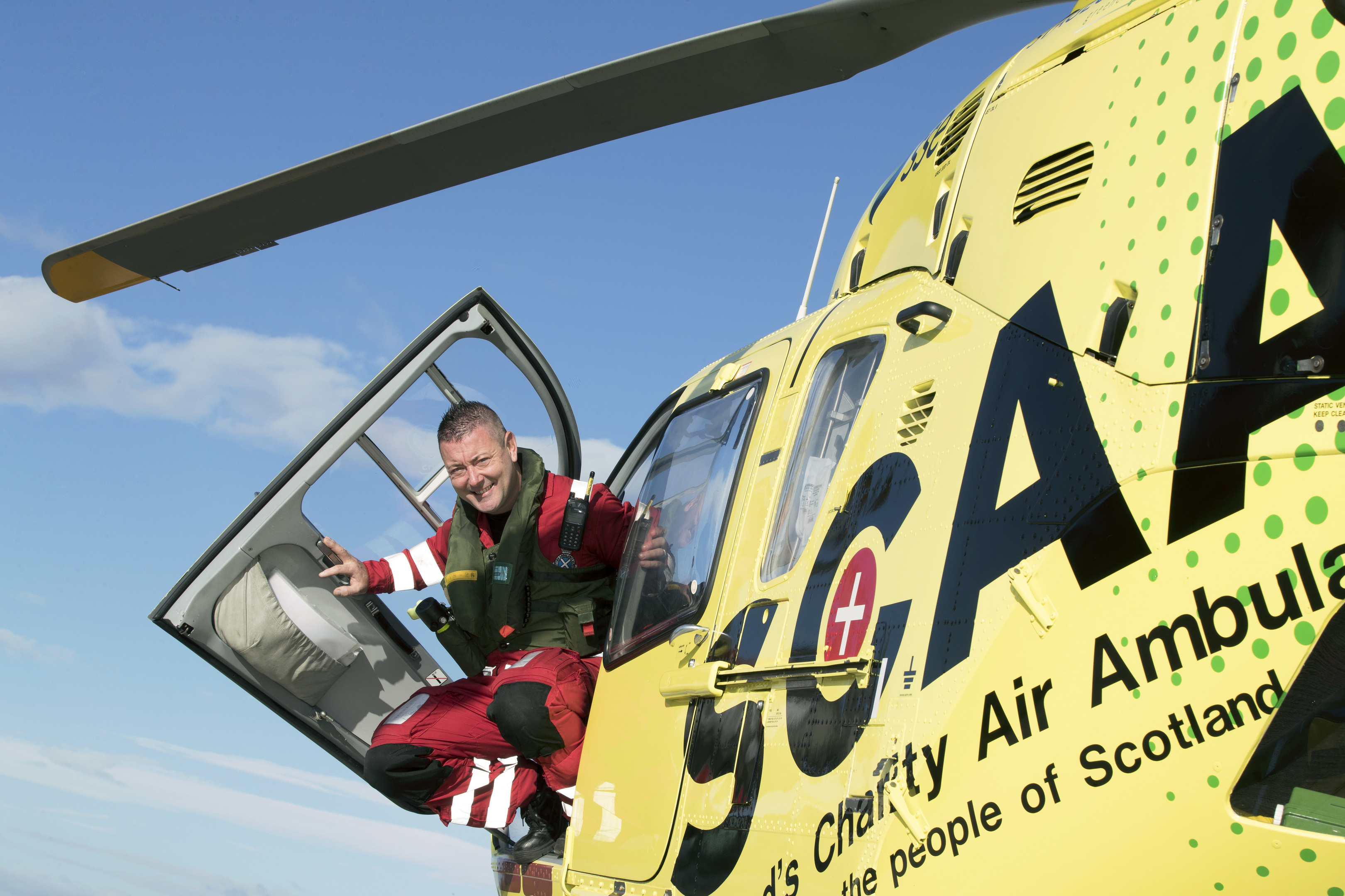 SCAA Paramedic Craig McDonald plans to brave a parachute jump to raise money for good causes. Picture: Perthshire Picture Agency.