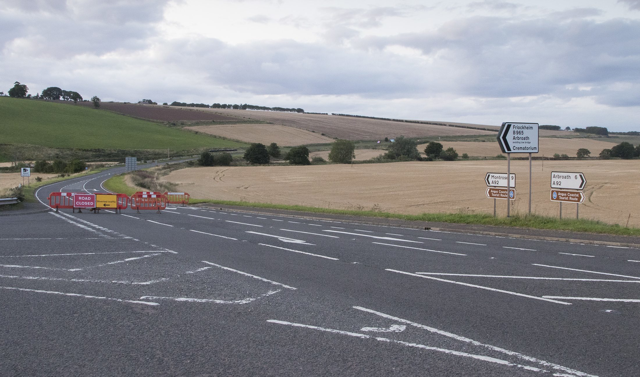 The A92 near the crash site