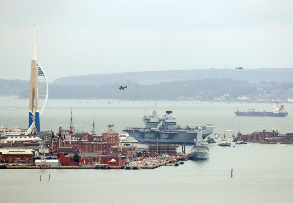 The 65,000-tonne carrier, the largest warship ever to be built in Britain, is expected to be the Navy's flagship for at least 50 years.