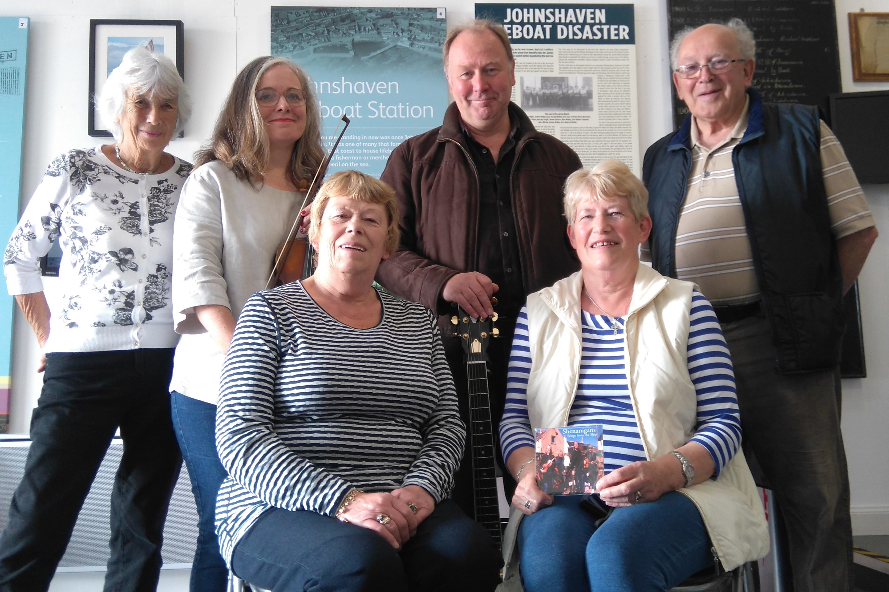 Members of the Johnshaven museum with Shenanigans and descendants of the crew.