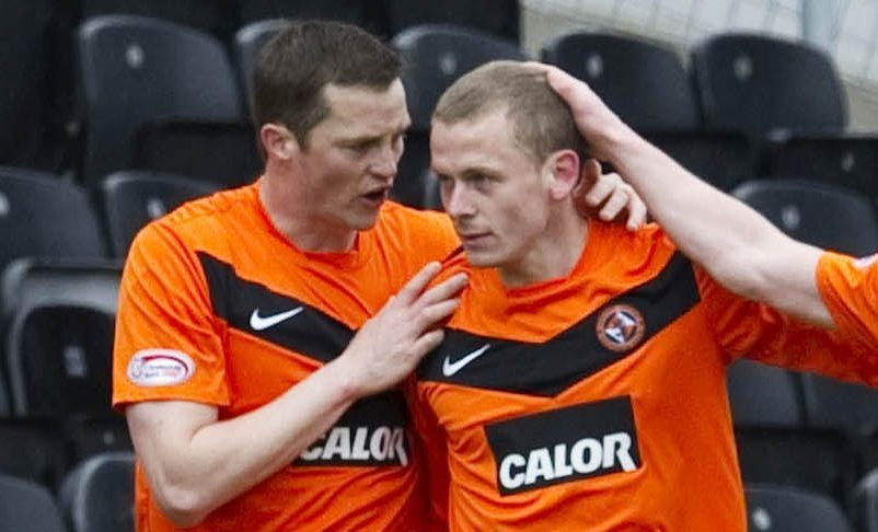 Jon Daly, left, and Scott Robertson playing for Dundee United.