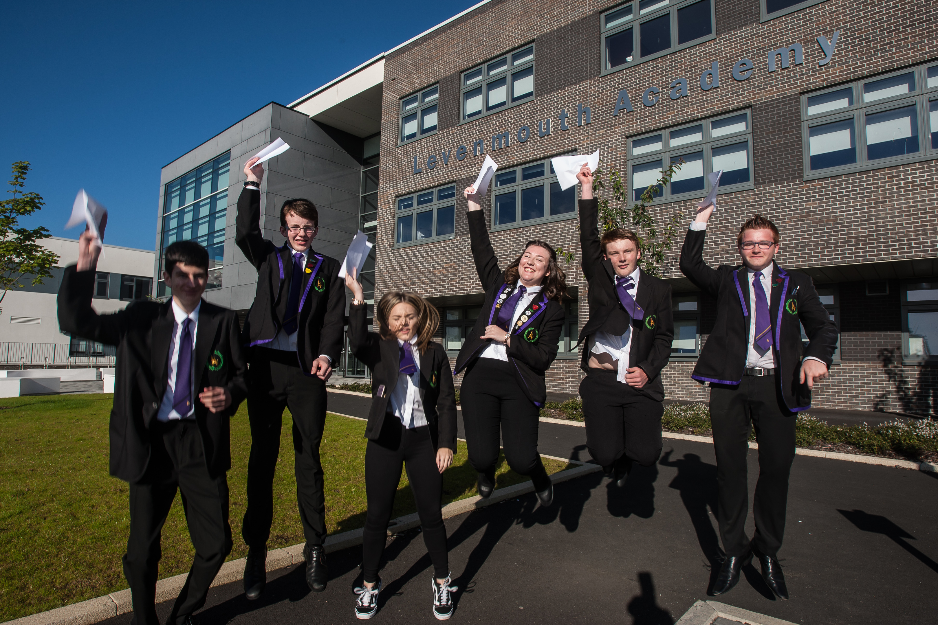 The first year of exam results at Levenmouth Academy in 2017. From left: David Anderson, Michael Taylor, Amy Thomson, Francesca Donaghy, Finlay O'Neill and Adin Johnstone.
