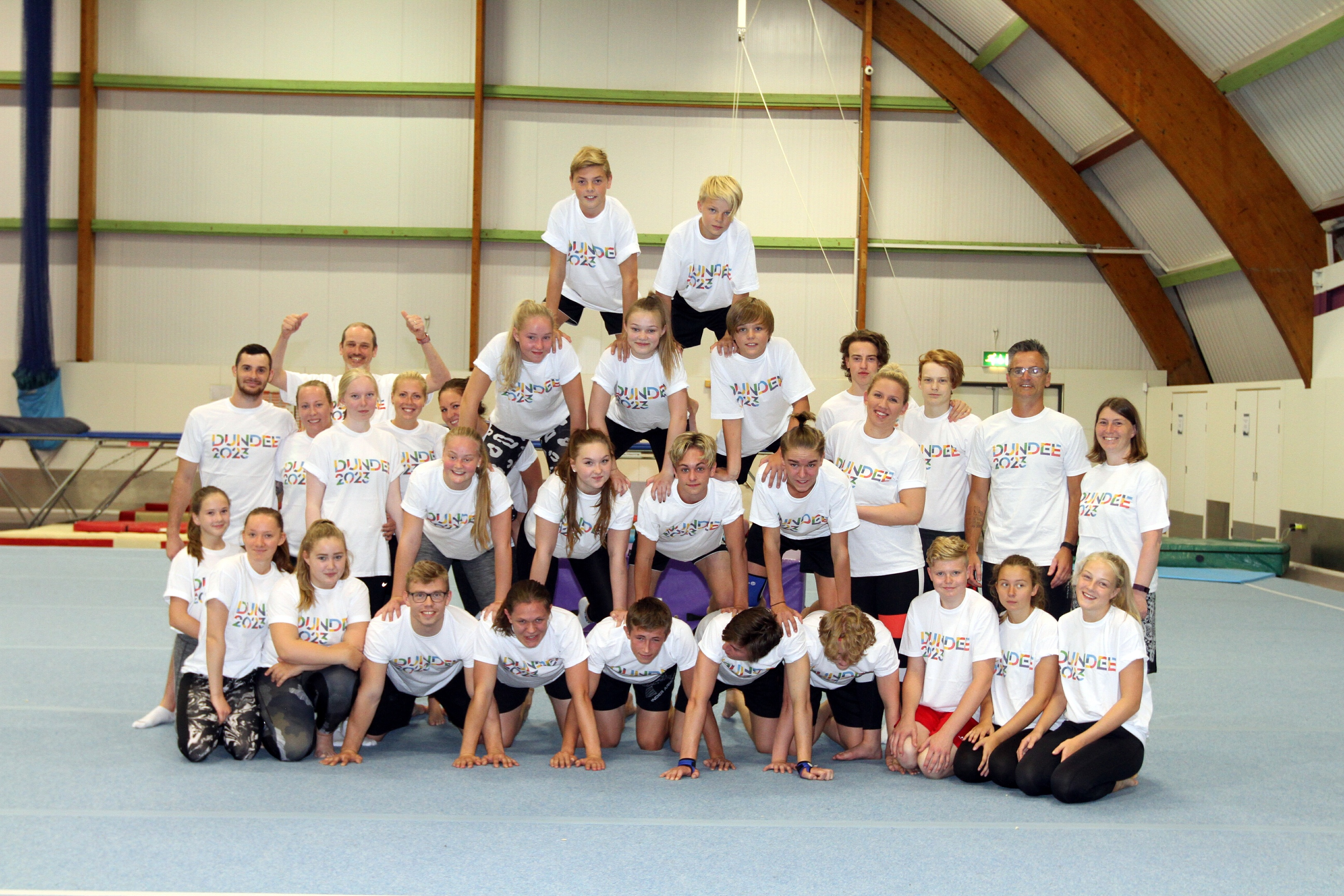 The gymnasts were gifted official Dundee 2023  t -shirts