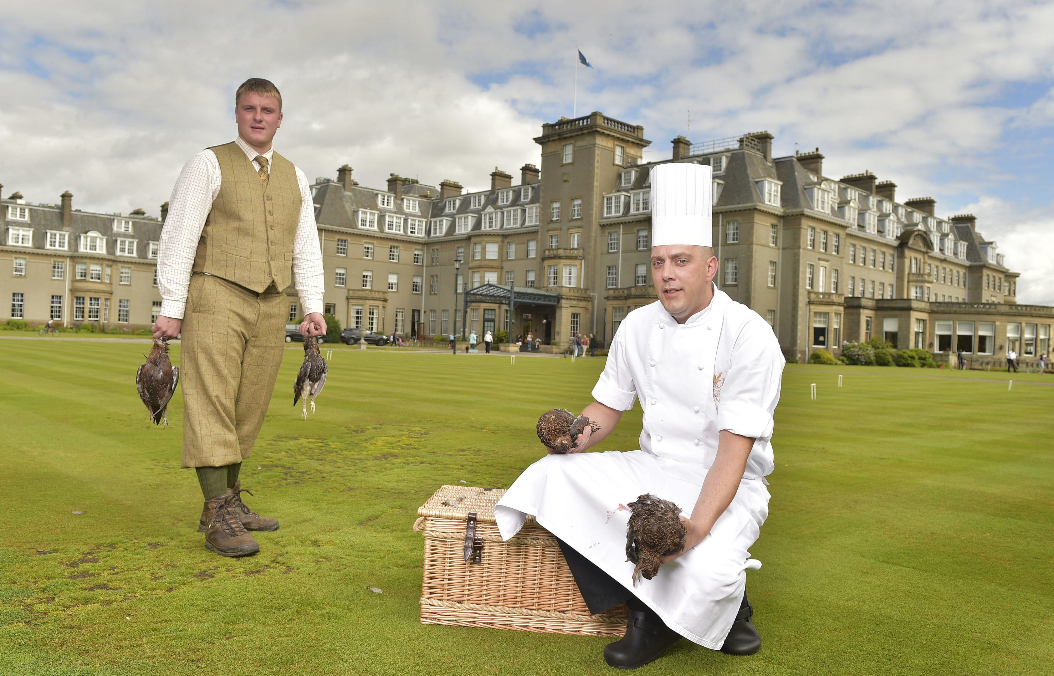 Gleneagles Hotel shooting instructor Nick Raby with Jonathan Wright executive sous chef.