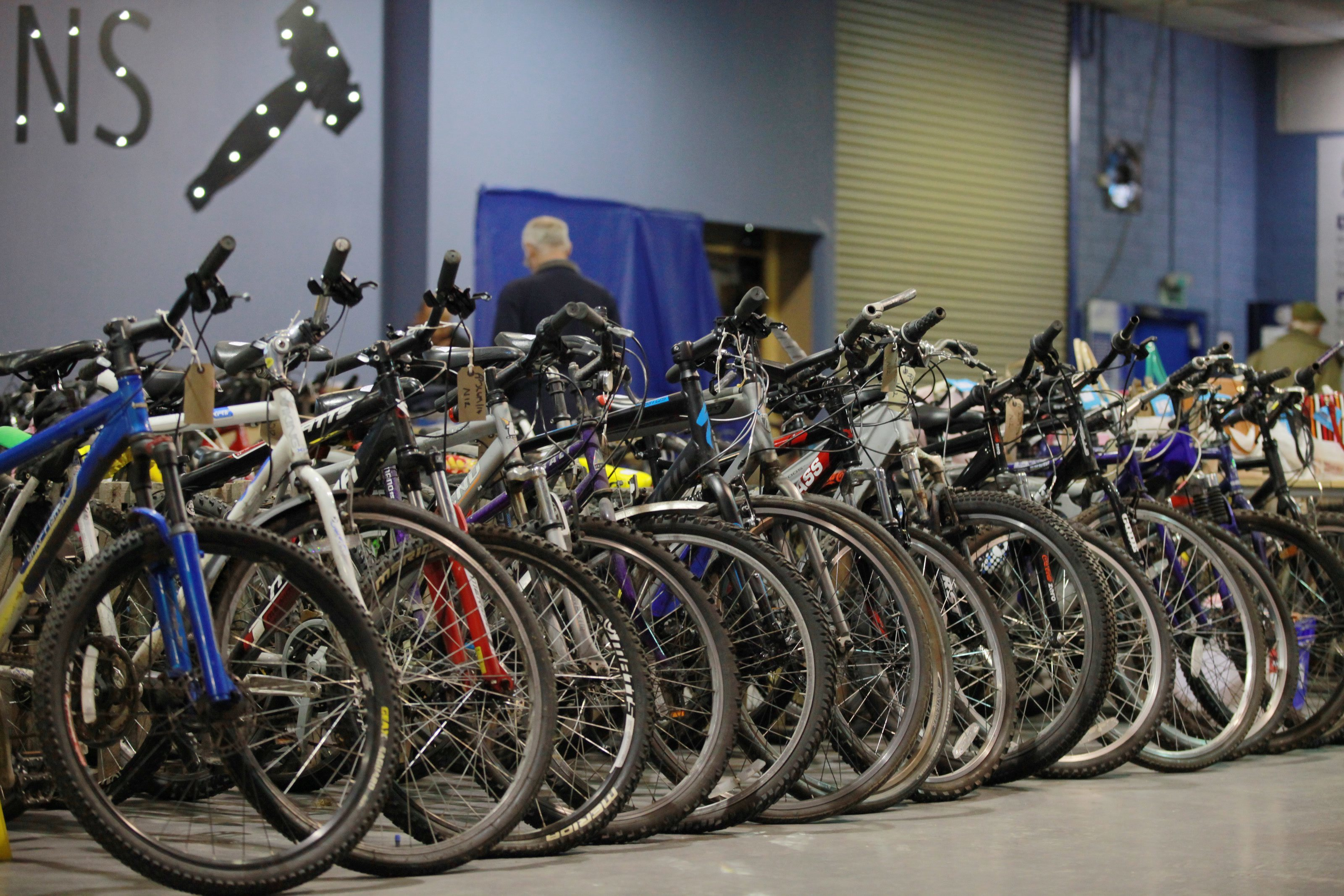 Rows of bikes on sale at a Police Scotland lost and found property auction.
