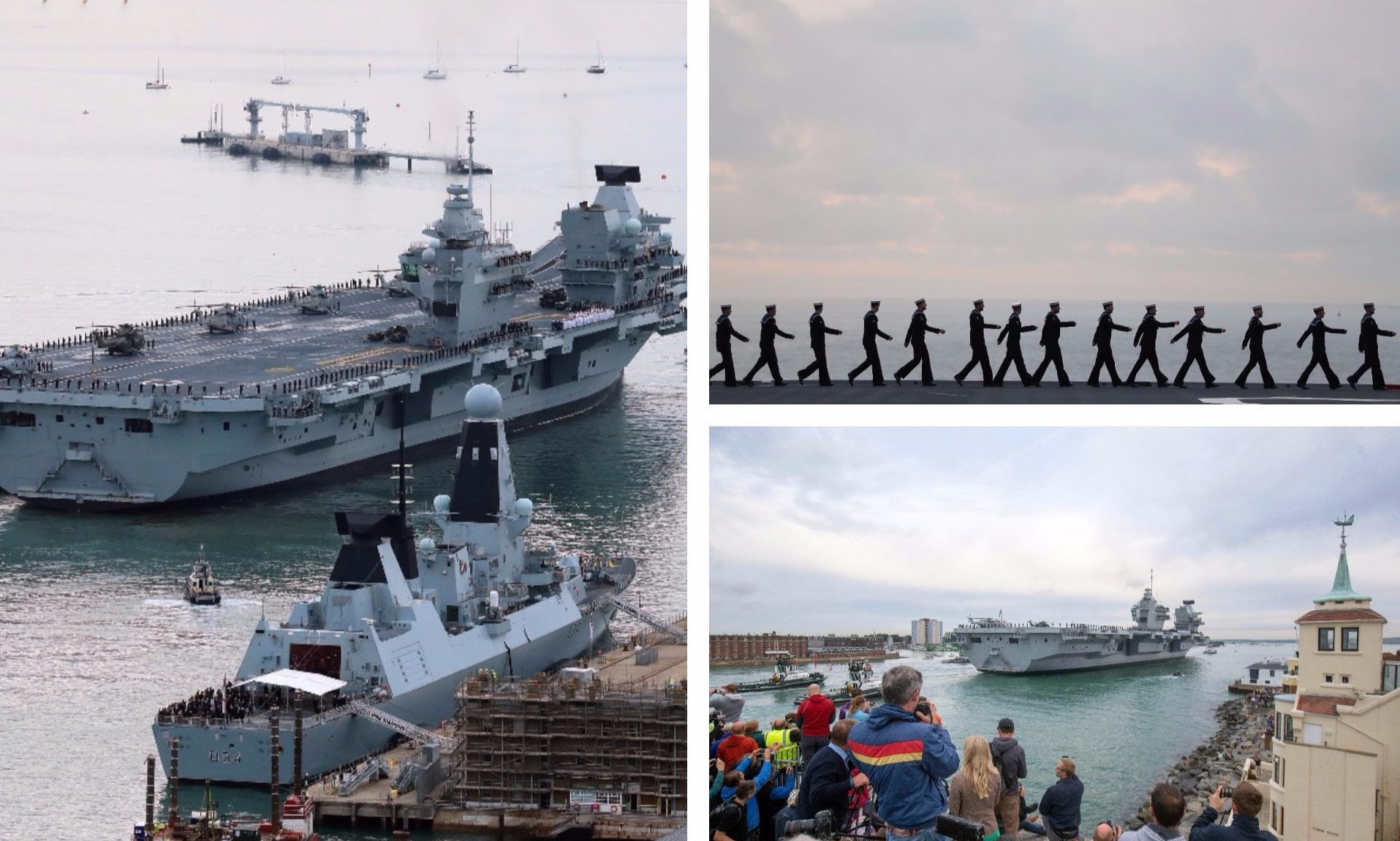 The HMS Queen Elizabeth arrives in Portsmouth.