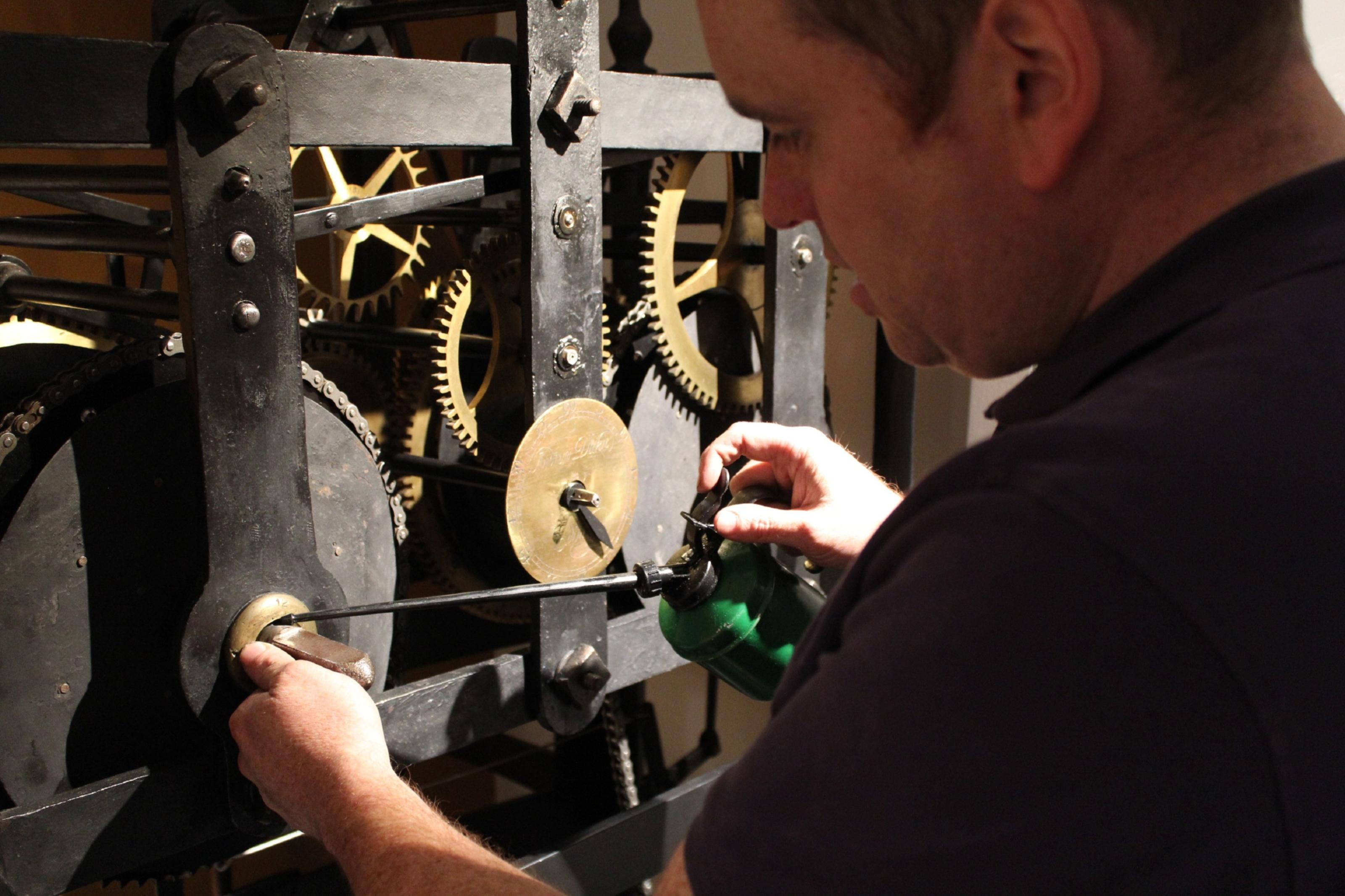 Mark Crangle restoring Dunfermline's historic abbey clock.