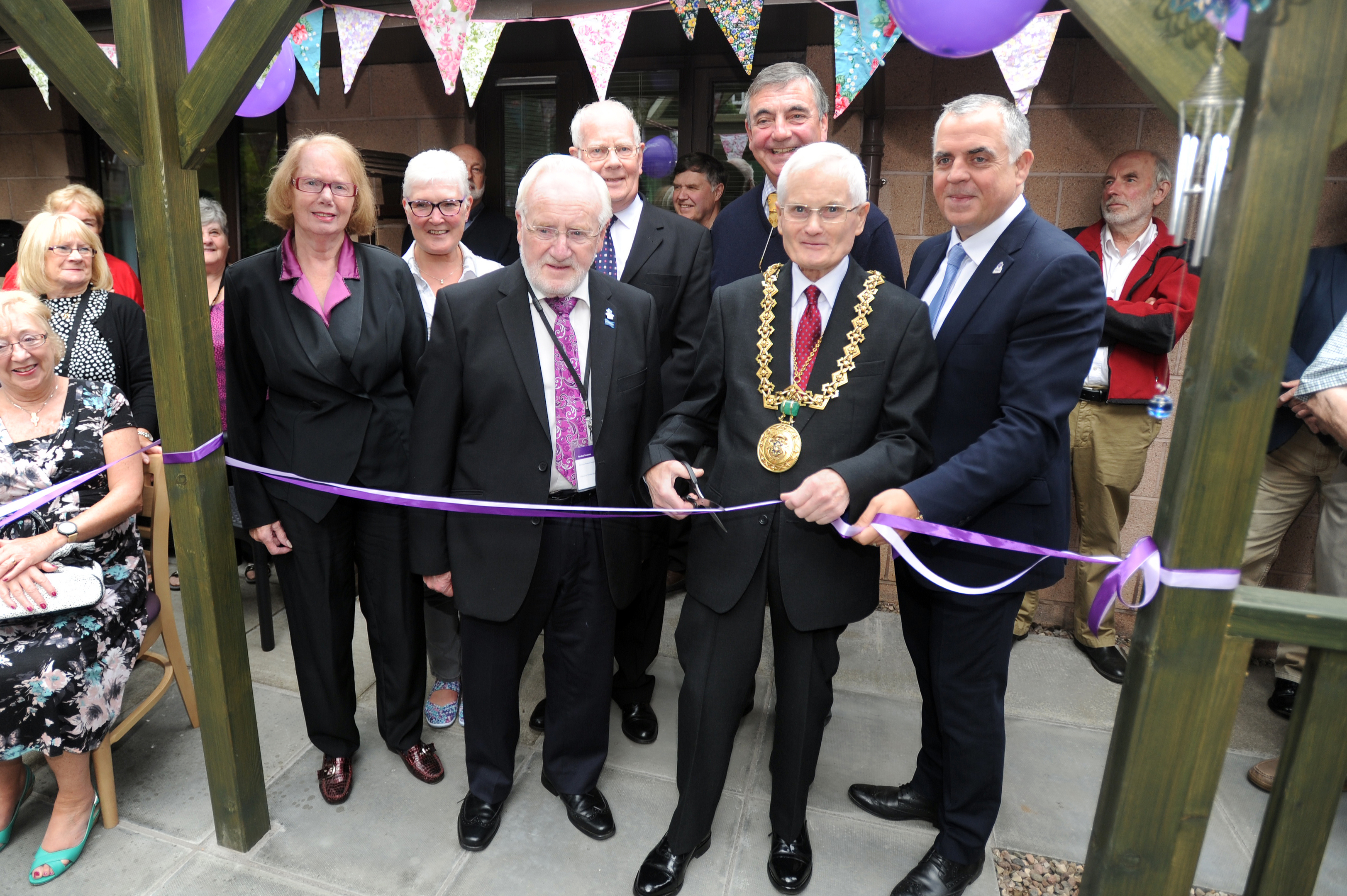 From left: Sandra Campbell (service user), Brenda Stewart (service manager), Archie Noone, Colin Campbell (carer), Ron MacWalter (president Claverhouse Rotary Club), Lord Provost Ian Borthwick and Henry Simmons (Alzheimer Scotland chief executive).
