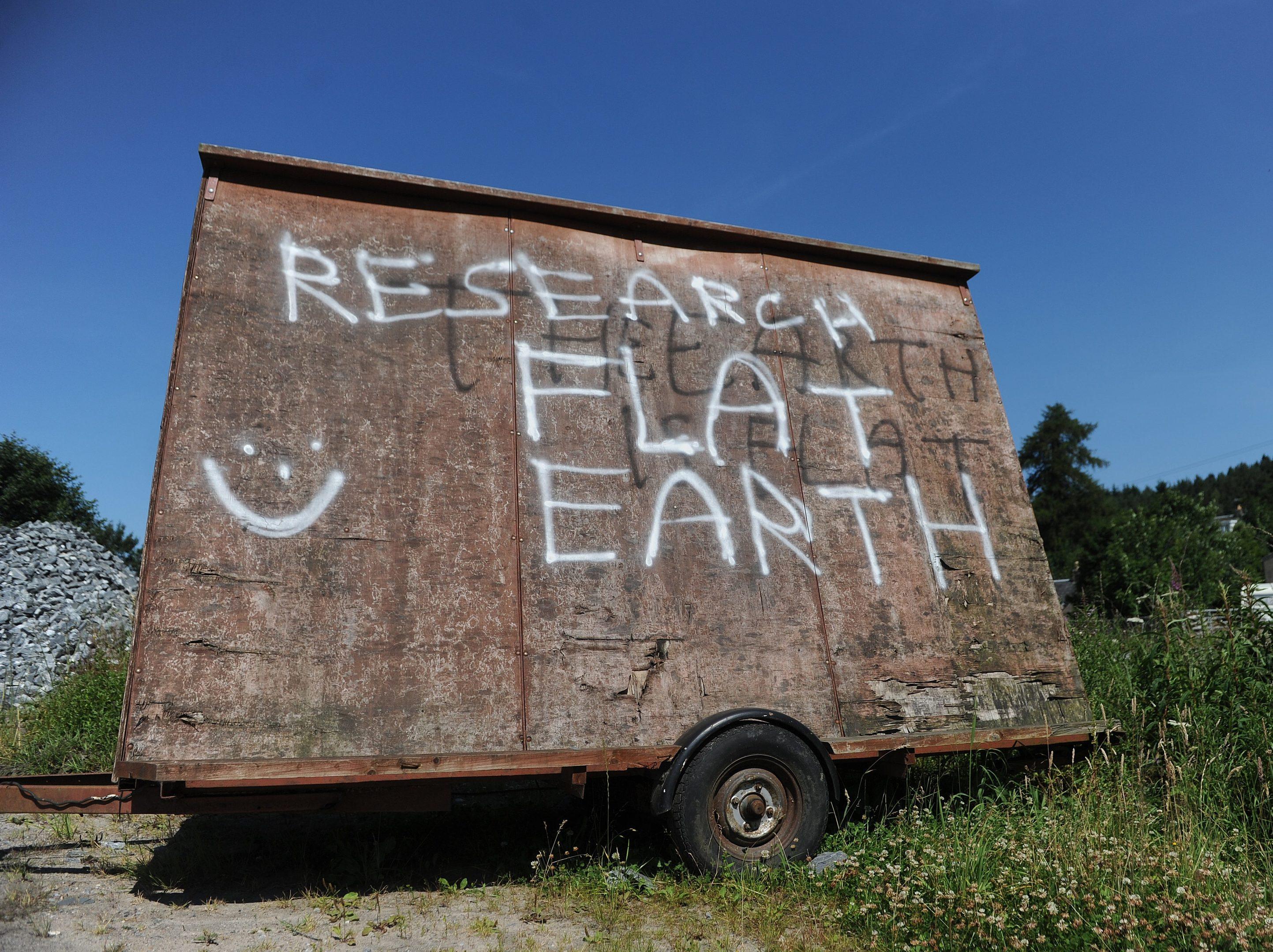 Flat earth graffiti in Perthshire,